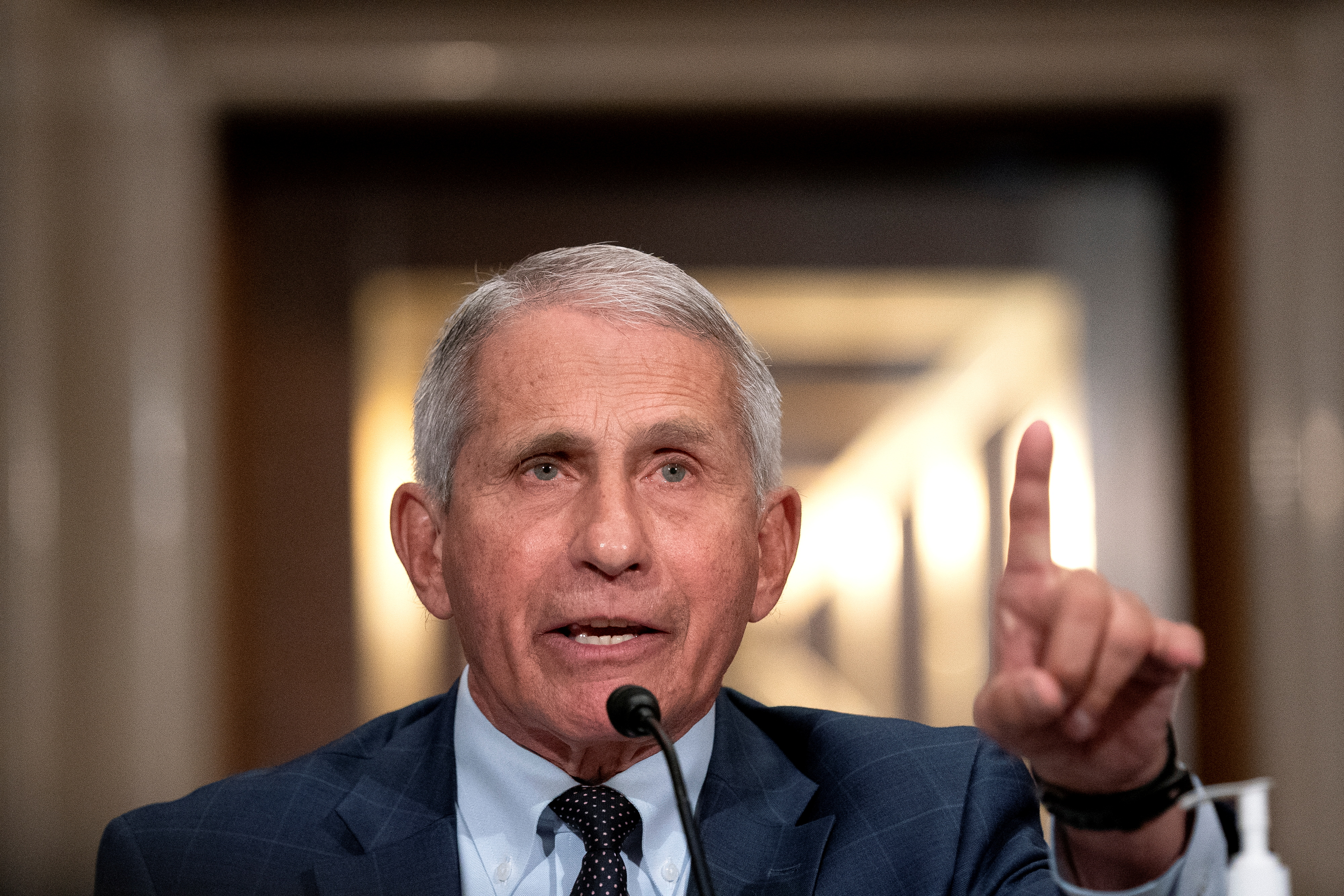 Dr. Anthony Fauci, director of the National Institute of Allergy and Infectious Diseases, speaks during a Senate Health, Education, Labor, and Pensions Committee hearing at the Dirksen Senate Office Building in Washington, D.C., U.S., July 20, 2021. Stefani Reynolds/Pool via REUTERS