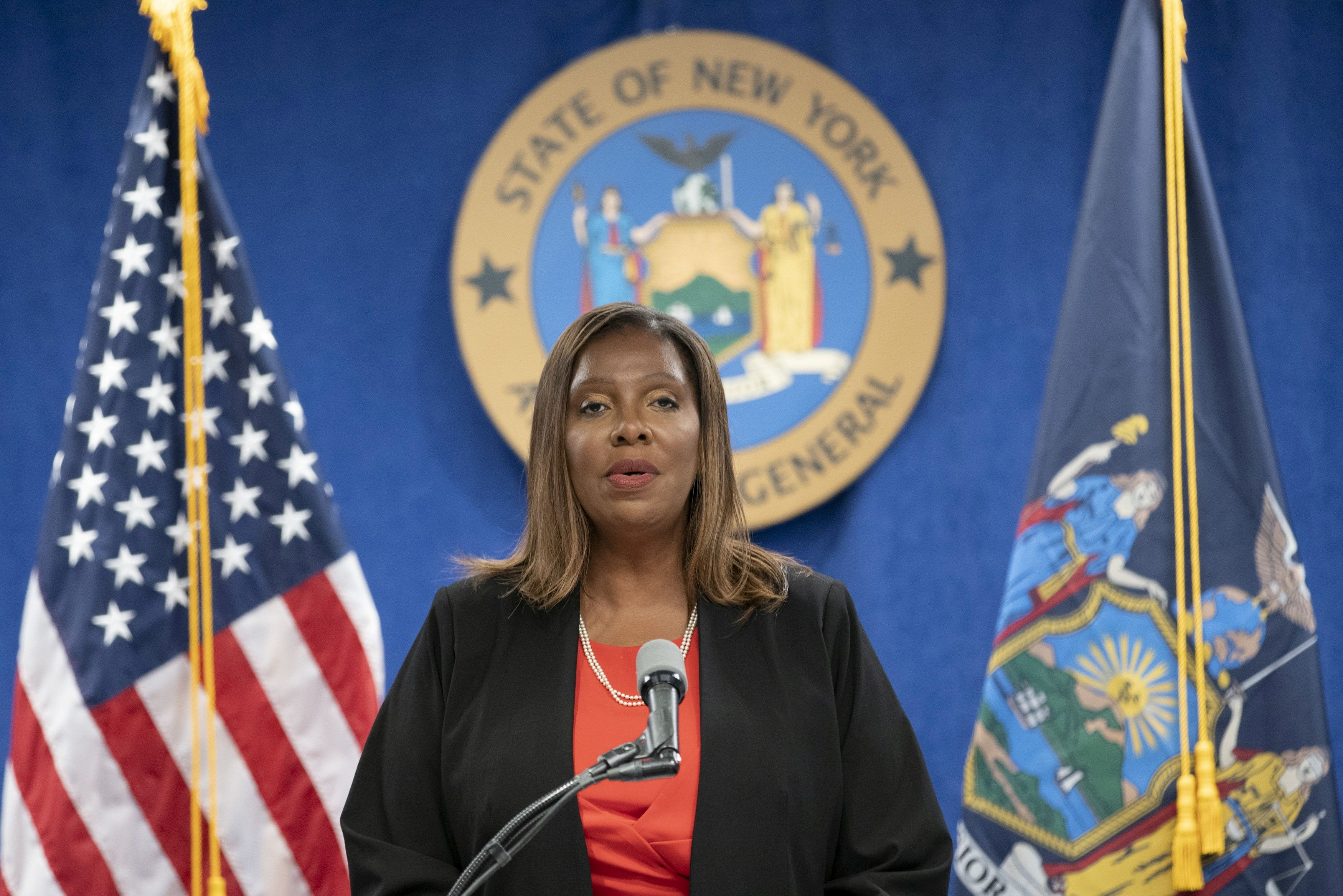 New York State Attorney General, Letitia James, speaks during a news conference at her office in New York City, New York, U.S., August 3, 2021. REUTERS/Eduardo Munoz