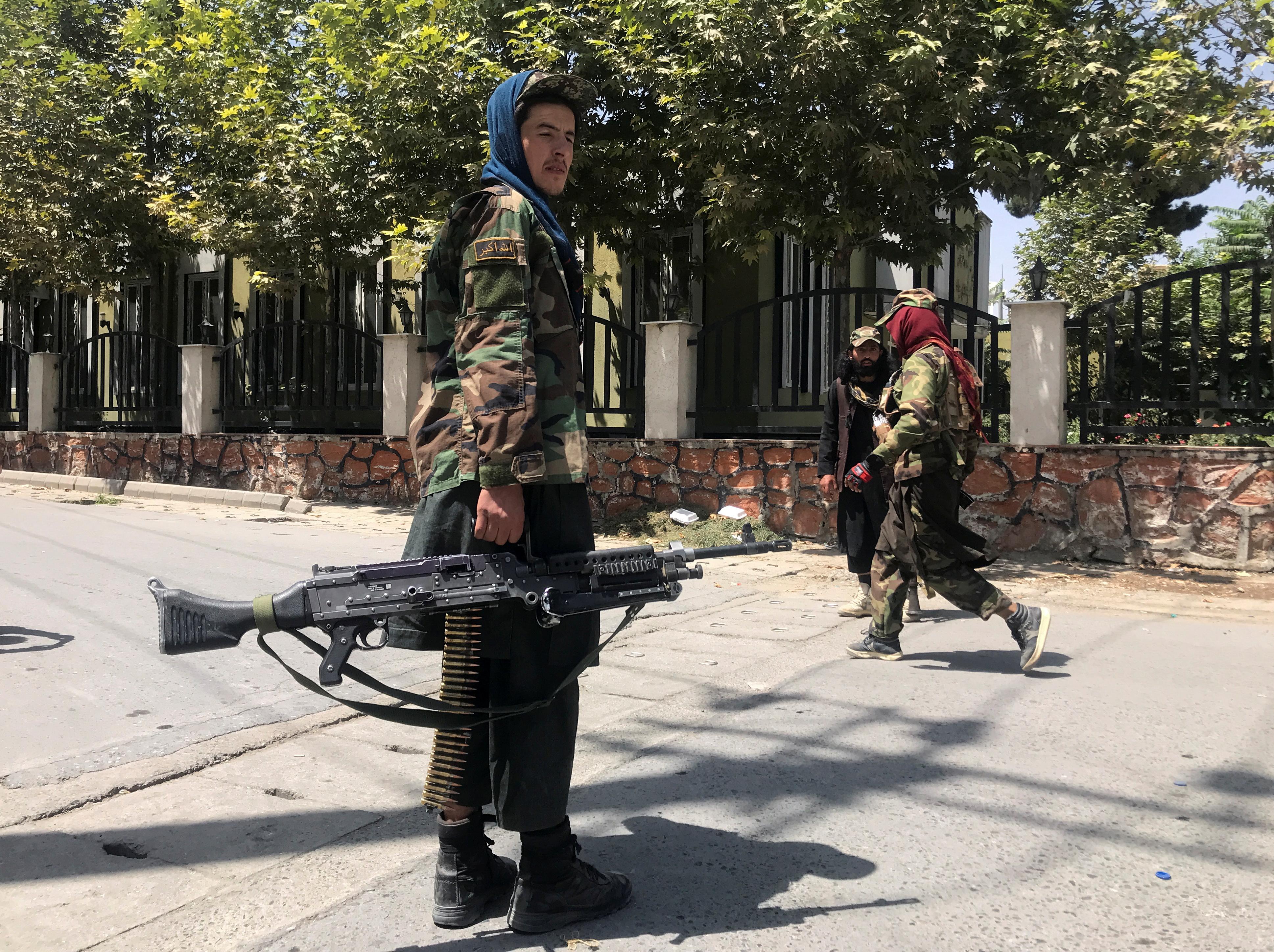 Taliban forces keep watch inside Kabul, Afghanistan August 16, 2021. REUTERS/Stringer