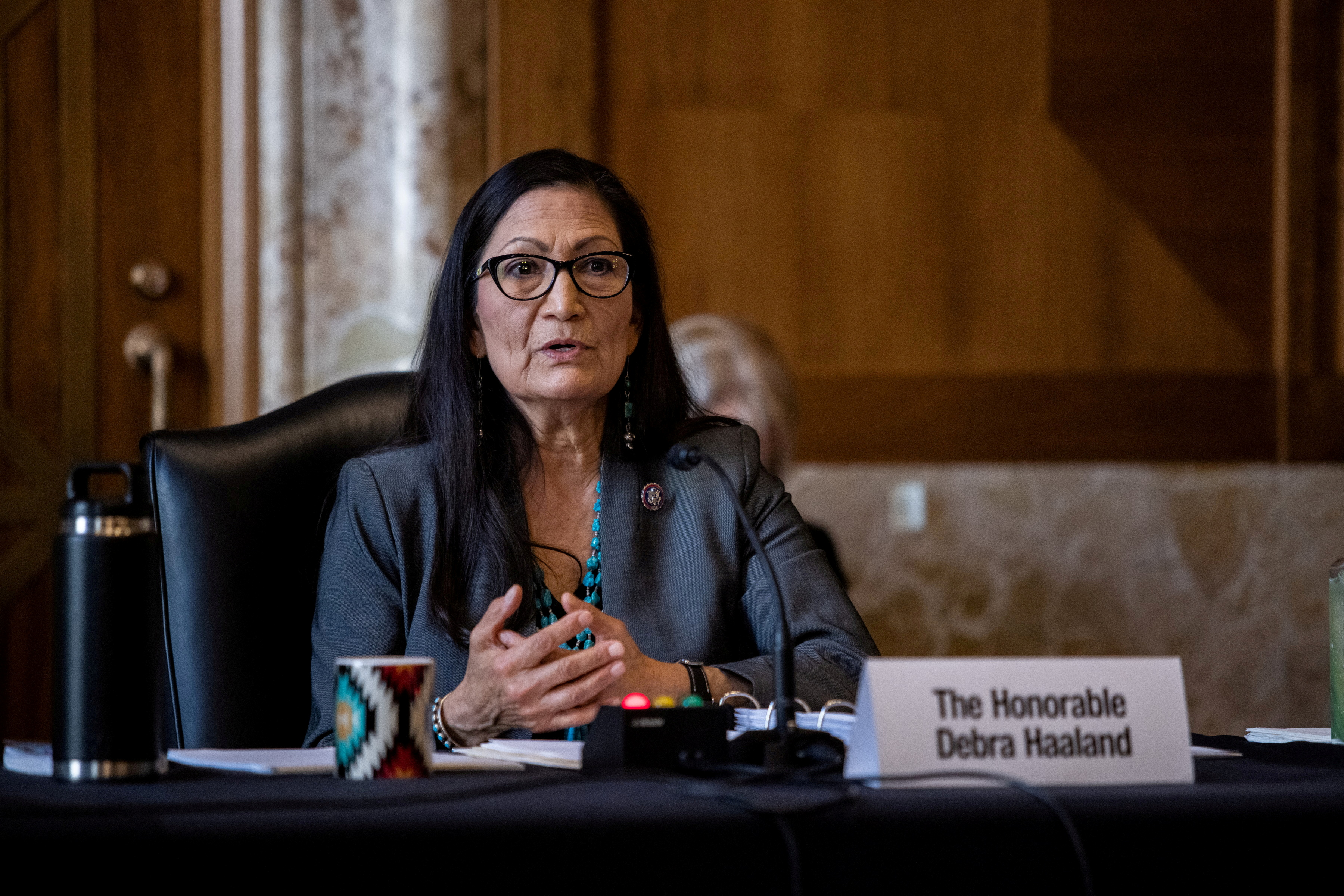 Rep. Deb Haaland, D-NM, speaks during a Senate Committee on Energy and Natural Resources hearing on her nomination to be Interior Secretary on Capitol Hill in Washington, DC, U.S. February 23, 2021.    Graeme Jennings/Pool via REUTERS/File Photo