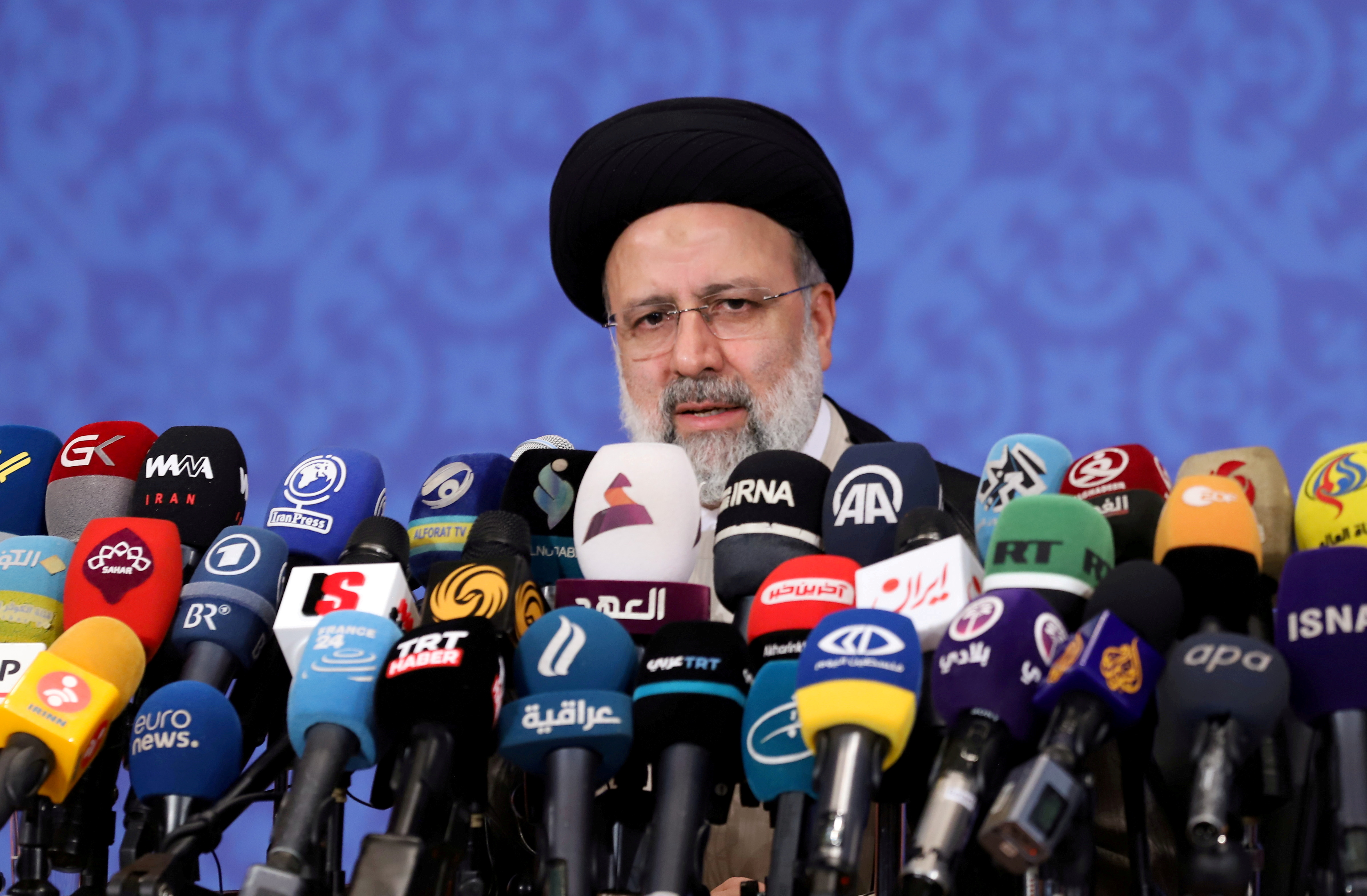 Ebrahim Raisi, who assumed office as Iran's president this month, speaks during a news conference in Tehran, Iran June 21, 2021. Majid Asgaripour/WANA (West Asia News Agency) via REUTERS