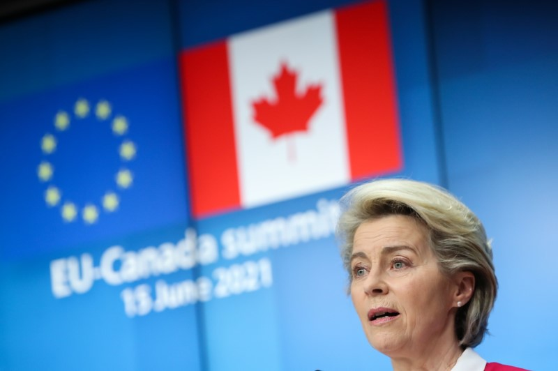 European Commission President Ursula von der Leyen holds a news conference with European Council President Charles Michel and Canada's Prime Minister Justin Trudeau after a EU-US summit, in Brussels, Belgium June 15, 2021. REUTERS/Yves Herman