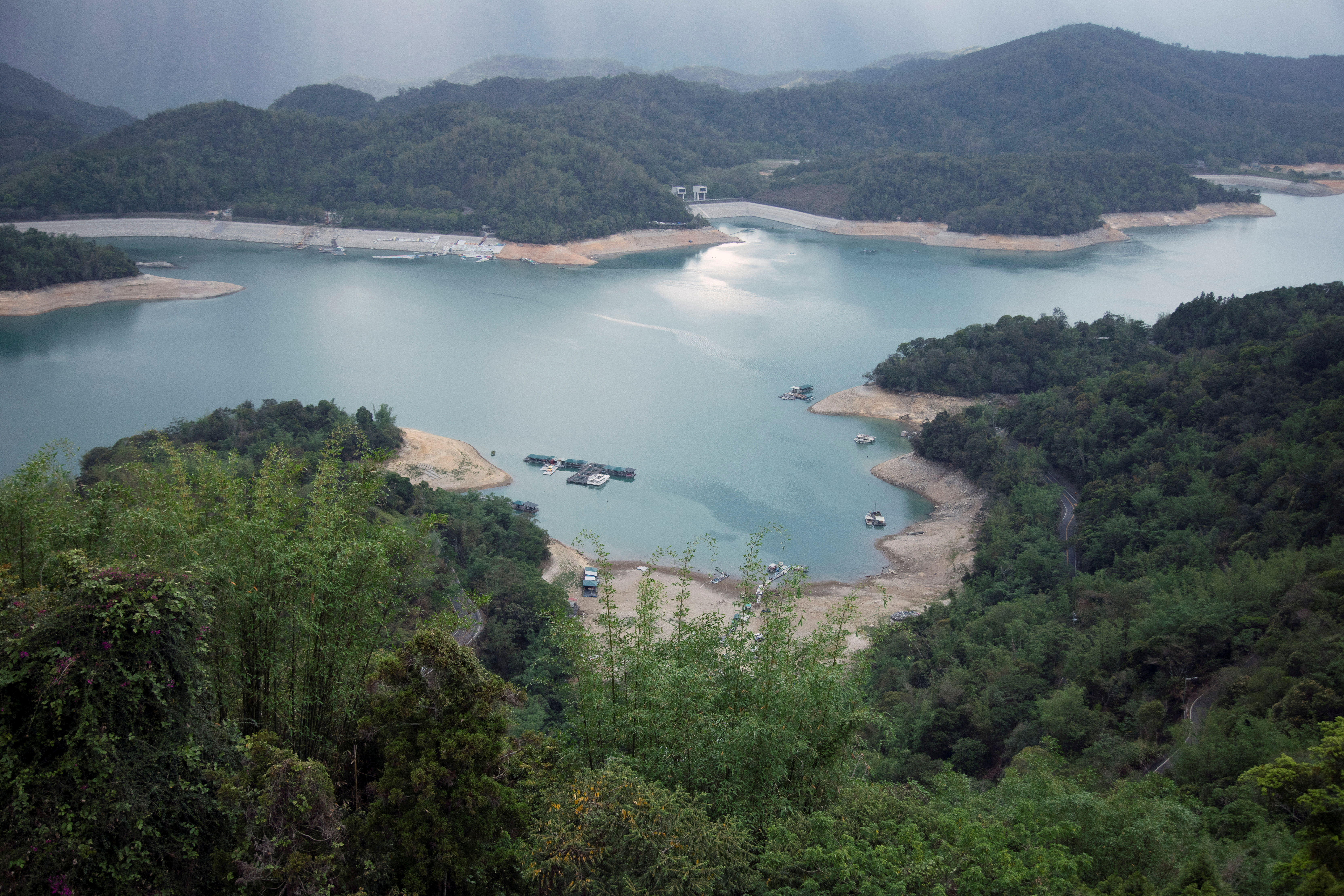 A general view shows the Sun Moon Lake with low water levels during an islandwide drought, in Nantou, Taiwan May 15, 2021. REUTERS/Annabelle Chih