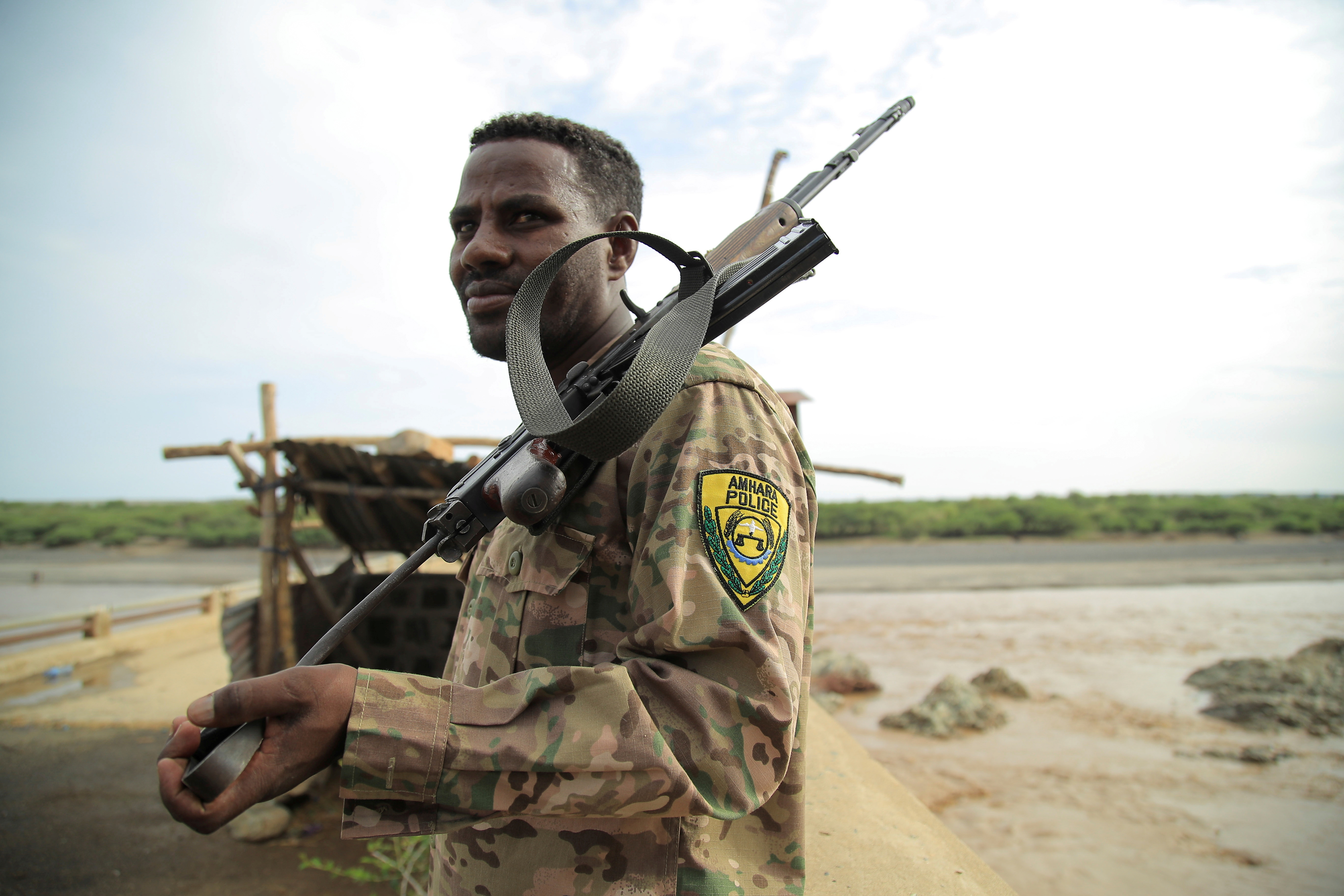 An Amhara Special Force member stands guard on Ethiopia-Eritrean border near in Humera town, Ethiopia July 1, 2021. Picture taken July 1, 2021. REUTERS/Stringer/File Photo