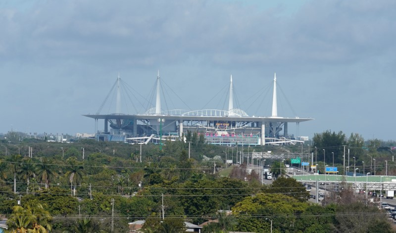 General overall view of Hard Rock Stadium in Miami Florida, January 30, 2020. Mandatory Credit: Kirby Lee-USA TODAY Sports/File Photo