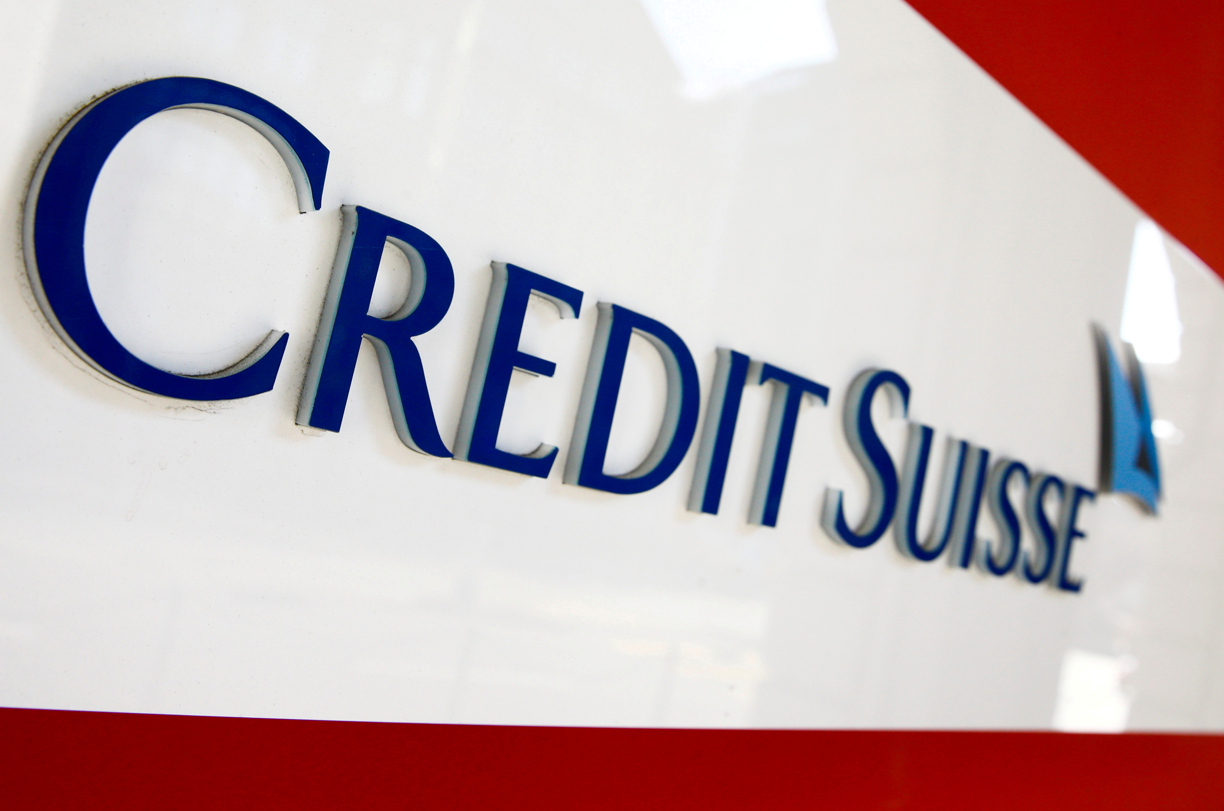 The logo of Swiss bank Credit Suisse is seen at a branch office in Zurich, Switzerland, April 14, 2021. REUTERS/Arnd Wiegmann