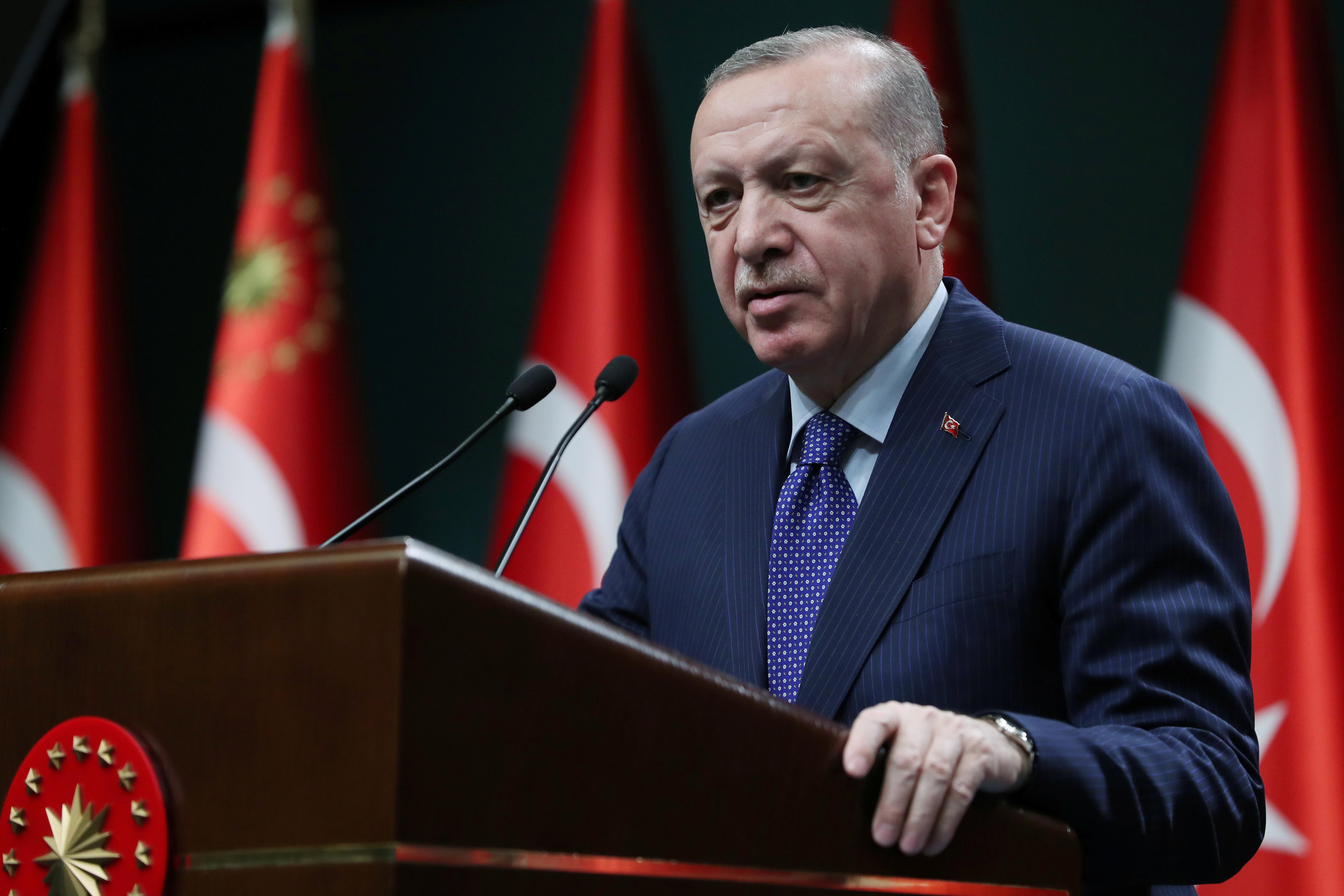 Turkish President Tayyip Erdogan gives a statement after a meeting in Ankara, Turkey, April 5, 2021. Murat Cetinmuhurdar/PPO/Handout via REUTERS