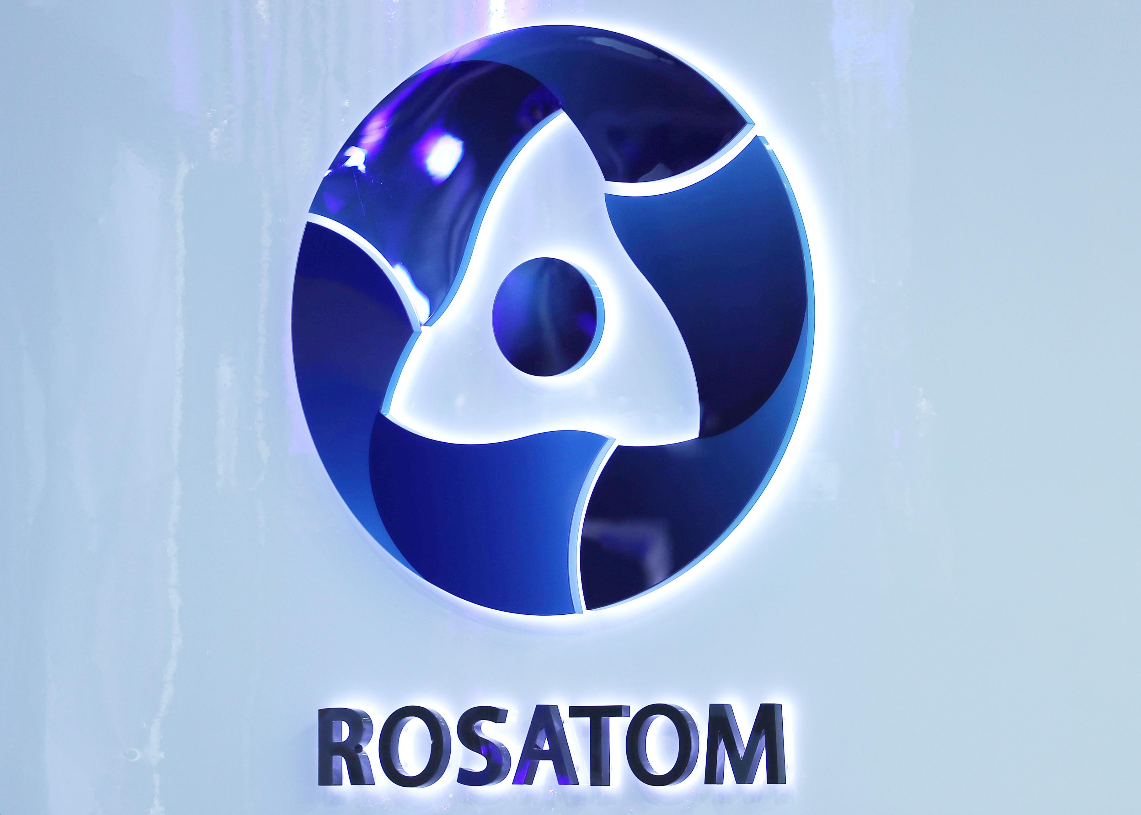 The logo of Rosatom corporation is seen at the St. Petersburg International Economic Forum (SPIEF) in Saint Petersburg, Russia, June 3, 2021. REUTERS/Evgenia Novozhenina