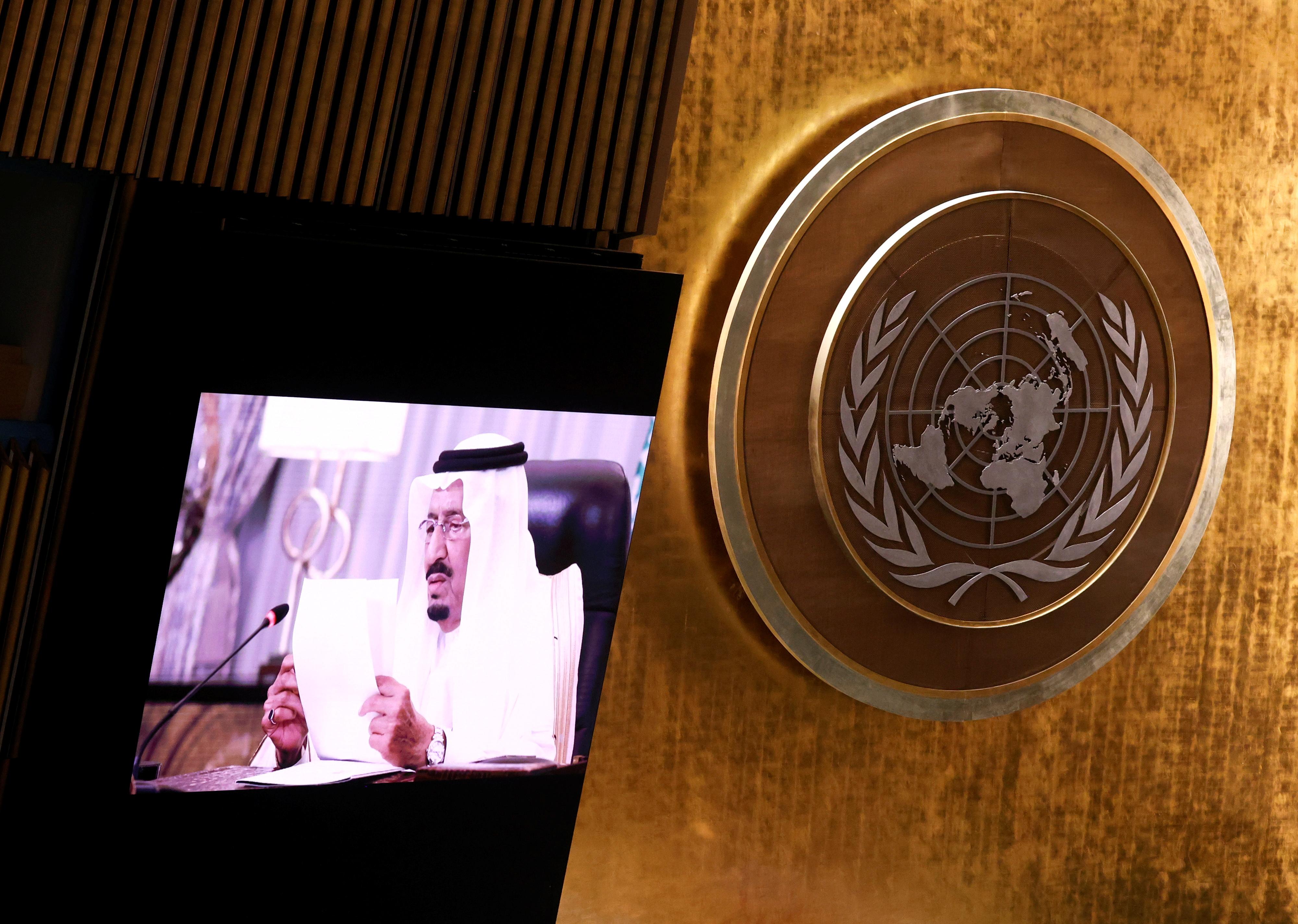 Saudi King Salman bin Abdulaziz addresses, via a prerecorded statement, the General Debate of the 76th Session of the United Nations General Assembly in New York City, U.S., September 22, 2021. John Angelillo/Pool via REUTERS