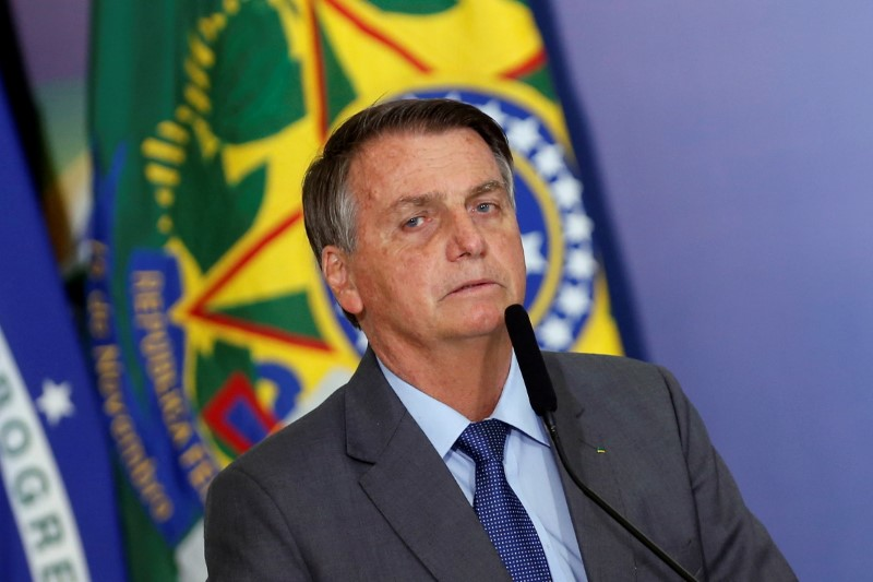 Brazil's President Jair Bolsonaro talks during a ceremony of signing a decree establishing the Public Integrity System of the Federal government at the Planalto Palace in Brasilia, Brazil July 27, 2021. REUTERS/Adriano Machado/File Photo