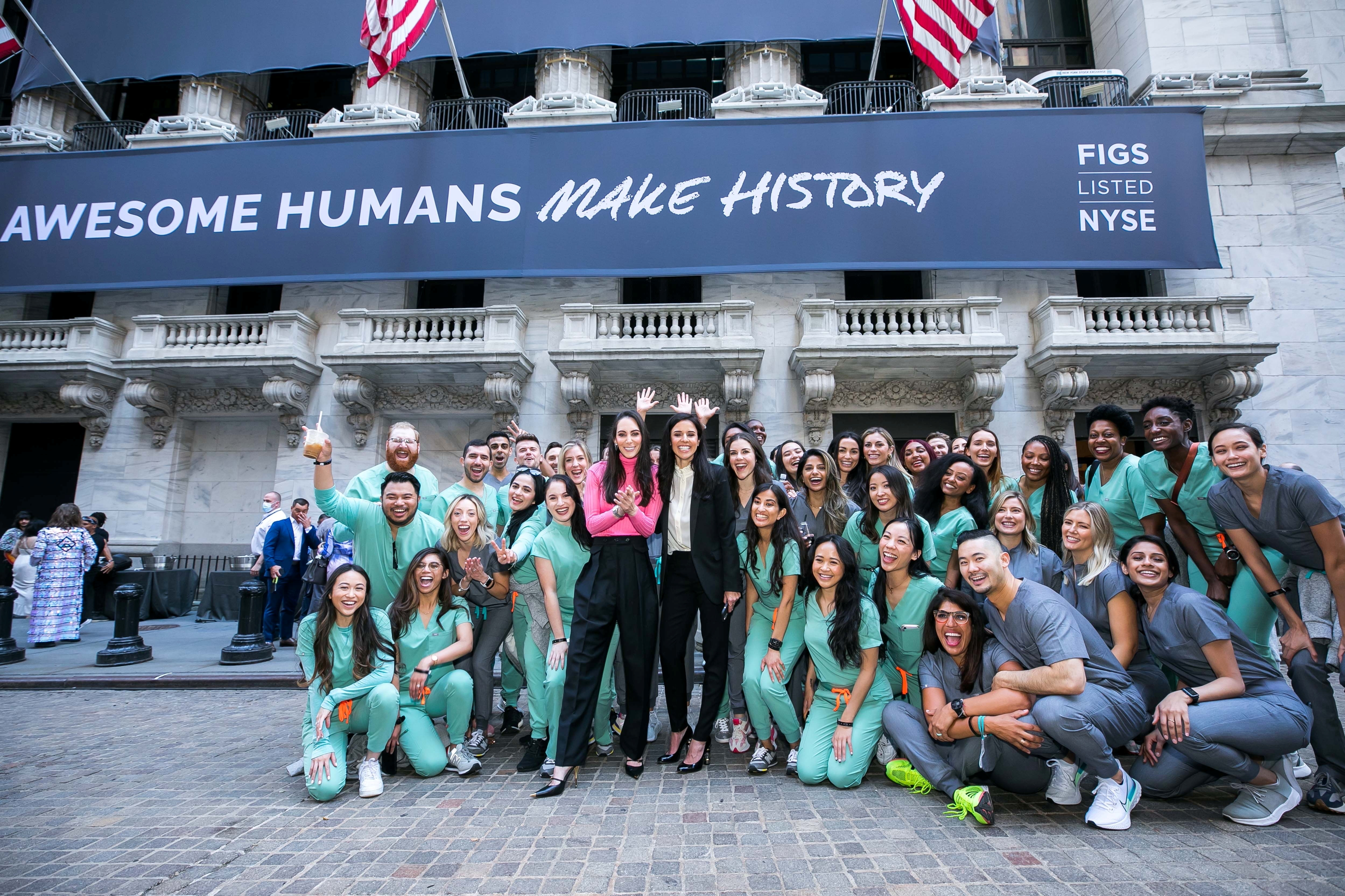 FIGS Inc co-founders Heather Hasson and Trina Spear arrive at the NYSE with FIGS ambassadors to celebrate the company's initial public offering in New York City, U.S., May 27, 2021. NYSE/Handout via REUTERS