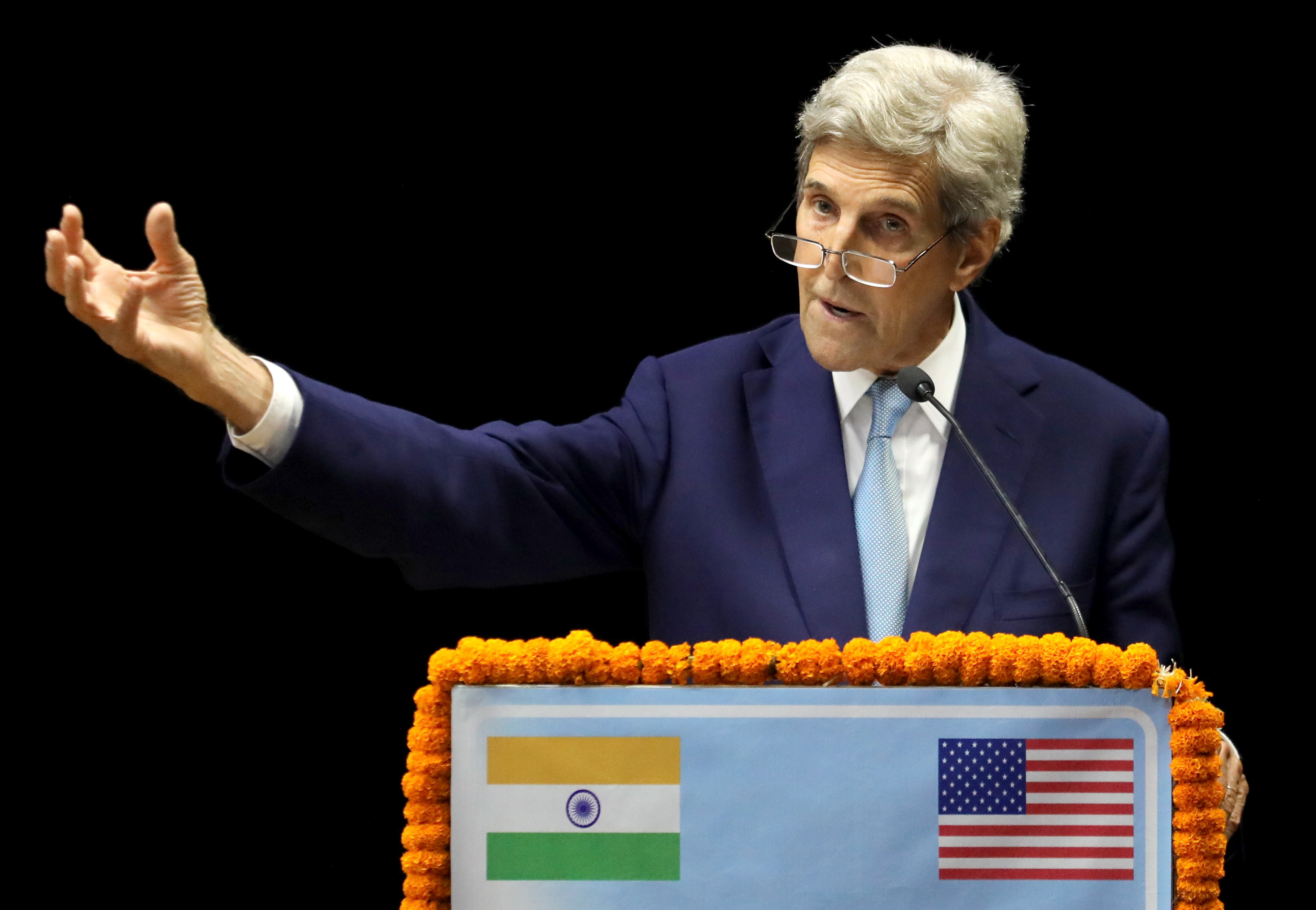 United States special presidential envoy for climate John Kerry speaks as he launches the Climate Action and Finance Mobilisation Dialogue (CAFMD) under India-US Climate and Clean Energy Agenda 2030 Partnership, in New Delhi, India, September 13, 2021. REUTERS/Anushree Fadnavis