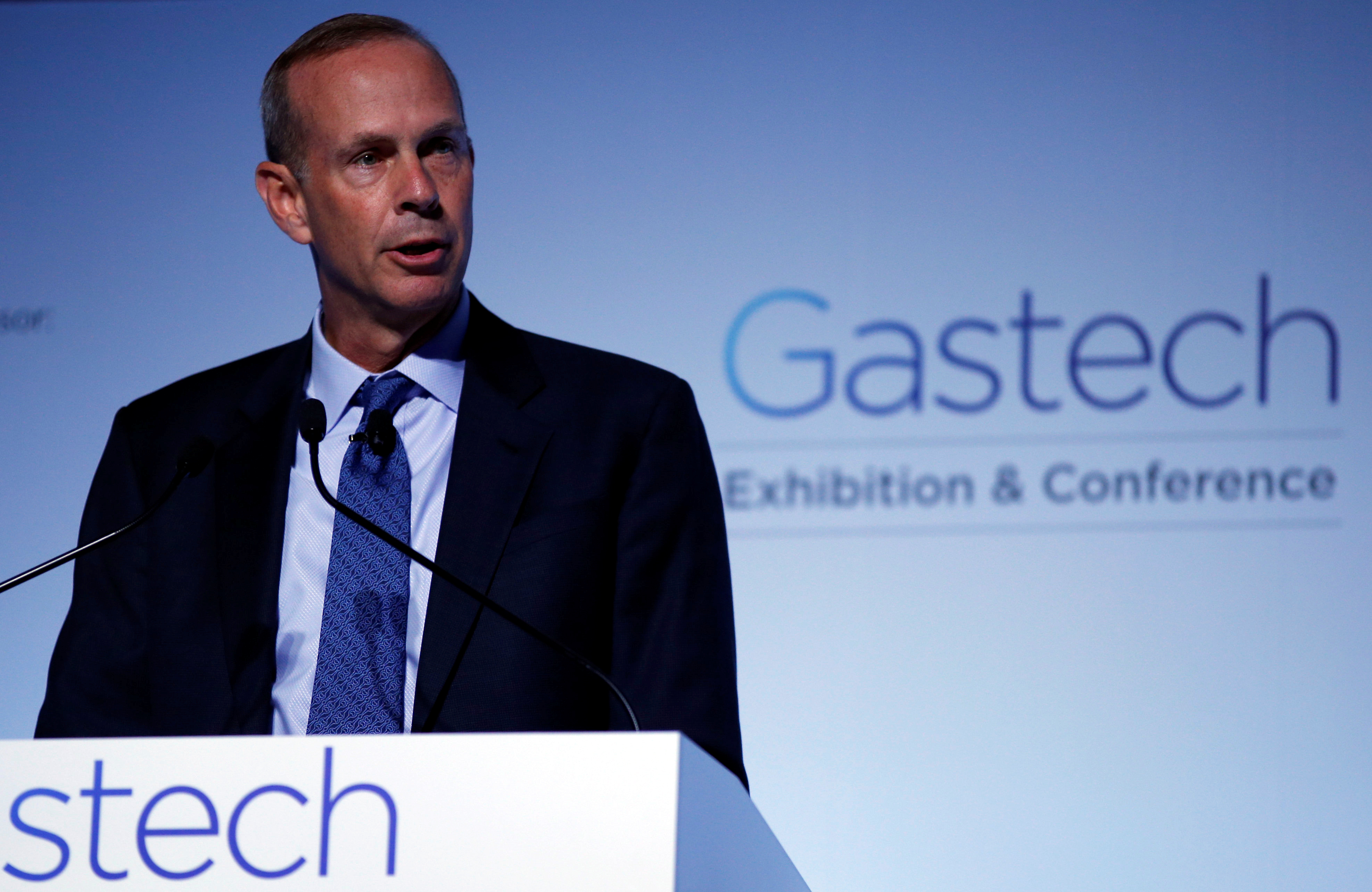 Chevron Corp Vice Chairman Michael Wirth speaks at Gastech, the world's biggest expo for the gas industry, in Chiba, Japan April 4, 2017. REUTERS/Toru Hanai