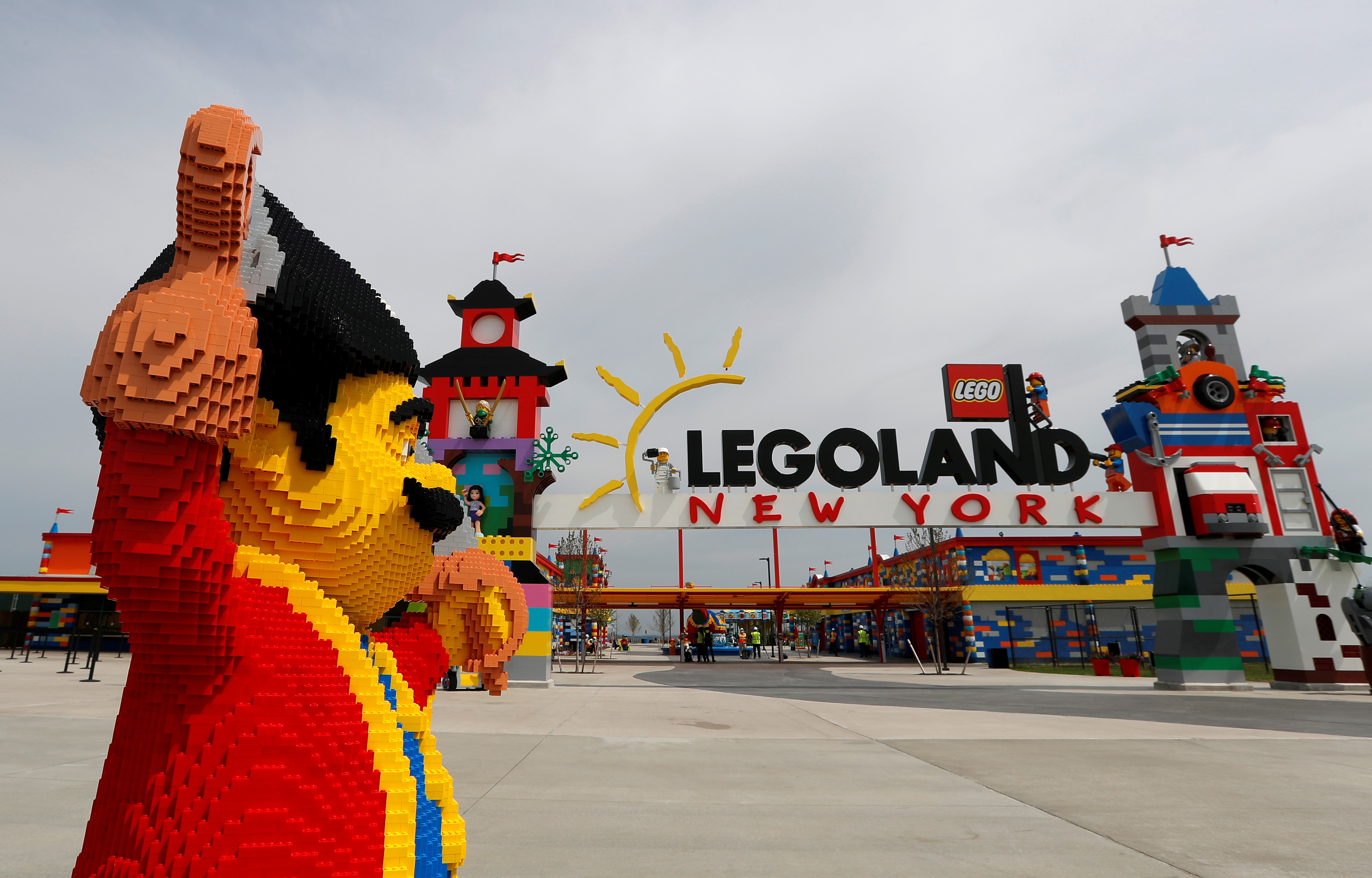 A Lego Pirate figure is pictured outside the main entrance gate to the new Legoland New York Resort theme park during a press preview of the park, which is currently under construction, with plans to open to the public in the summer of 2021 in Goshen, New York, U.S., April 28, 2021. REUTERS/Mike Segar