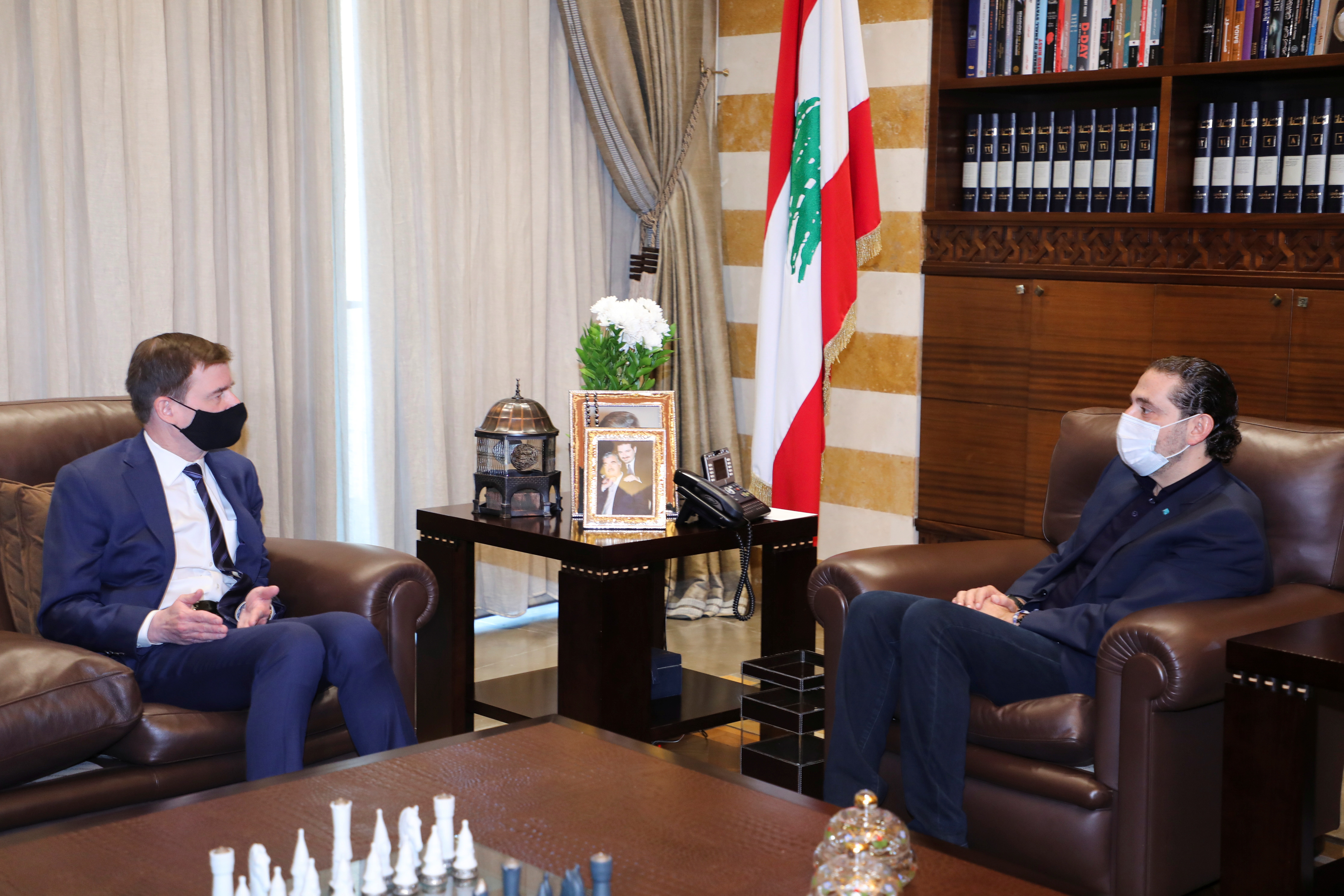 U.S. Under Secretary of State for Political Affairs David Hale attends a meeting with Lebanon's Prime Minister-designate Saad al-Hariri in Beirut, Lebanon April 14, 2021. REUTERS/Mohamed Azakir