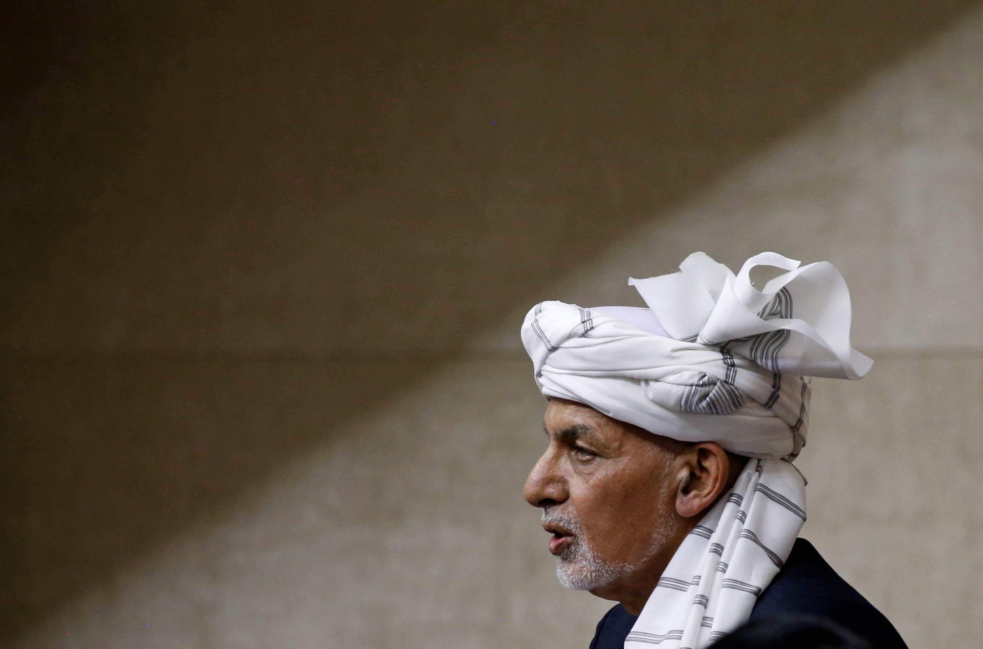 Afghan President Ashraf Ghani speaks at the parliament in Kabul, Afghanistan August 2, 2021. REUTERS/Stringer