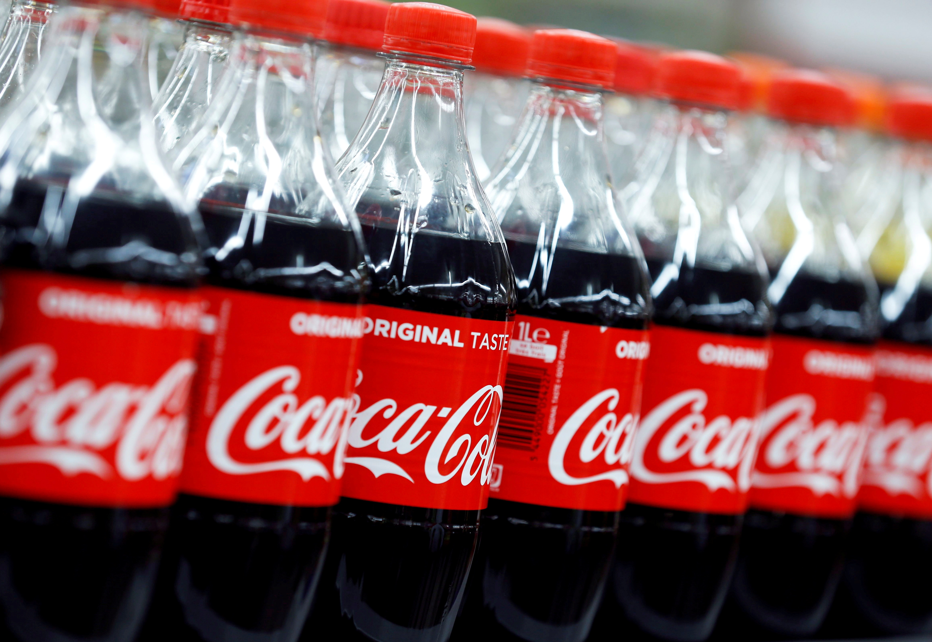 Bottles of Coca-Cola are seen at a Carrefour Hypermarket store in Montreuil, near Paris, France, February 5, 2018.  REUTERS/Regis Duvignau/File Photo