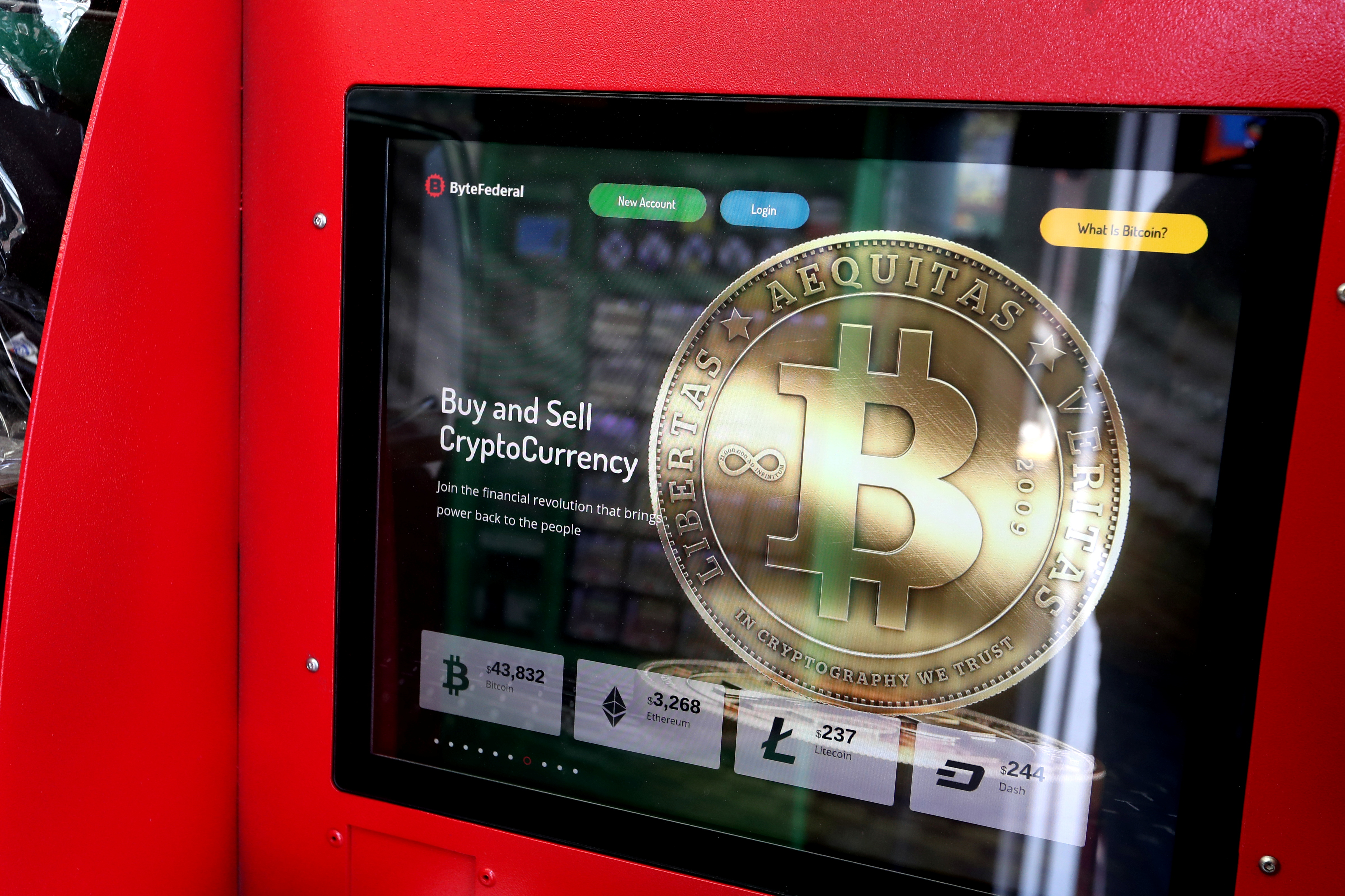 A crypto currency ATM machine is pictured in a shop in Union City, New Jersey, U.S., May 19, 2021. REUTERS/Mike Segar