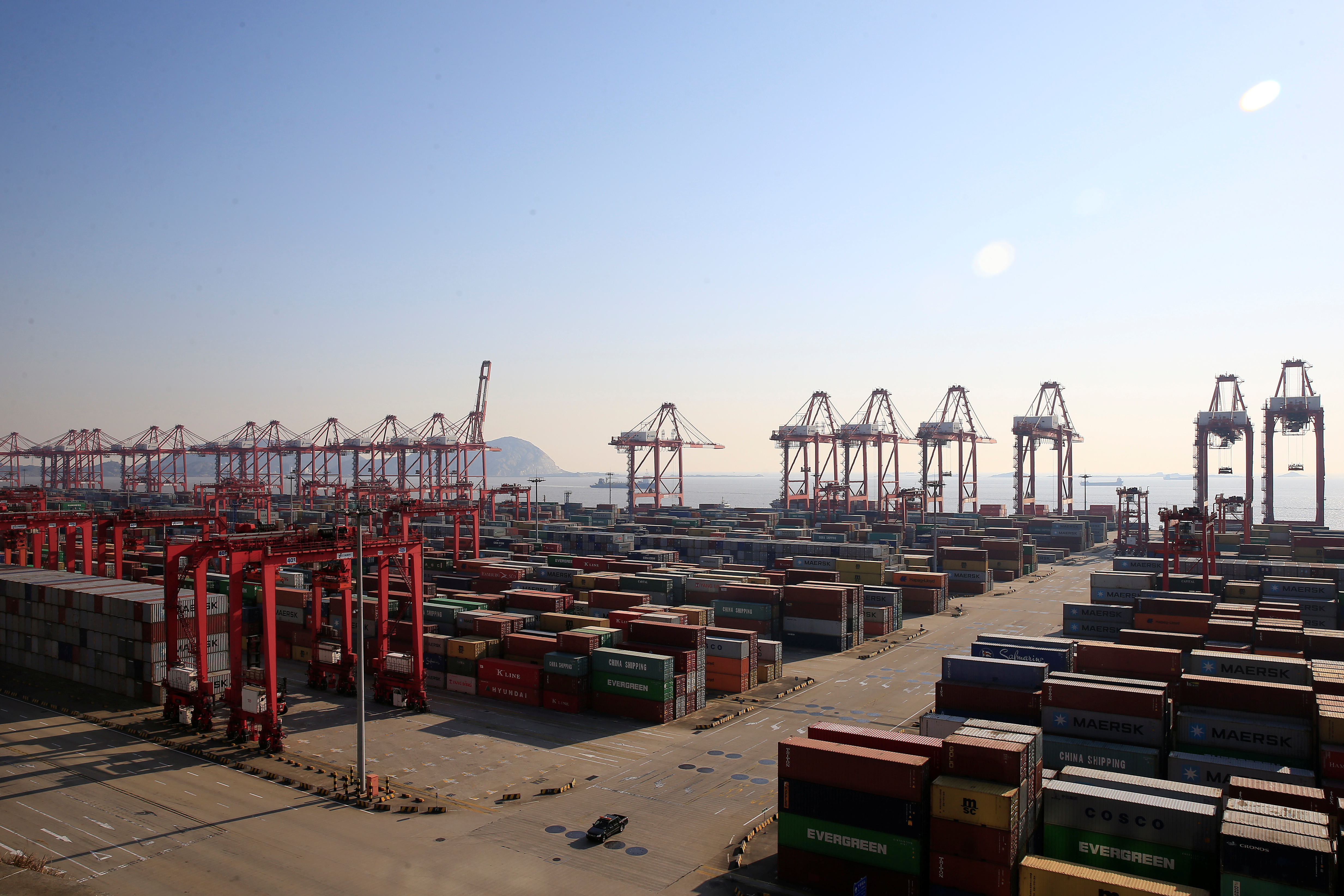 Containers are seen at the Yangshan Deep Water Port, part of the Shanghai Free Trade Zone, in Shanghai, China, February 13, 2017.