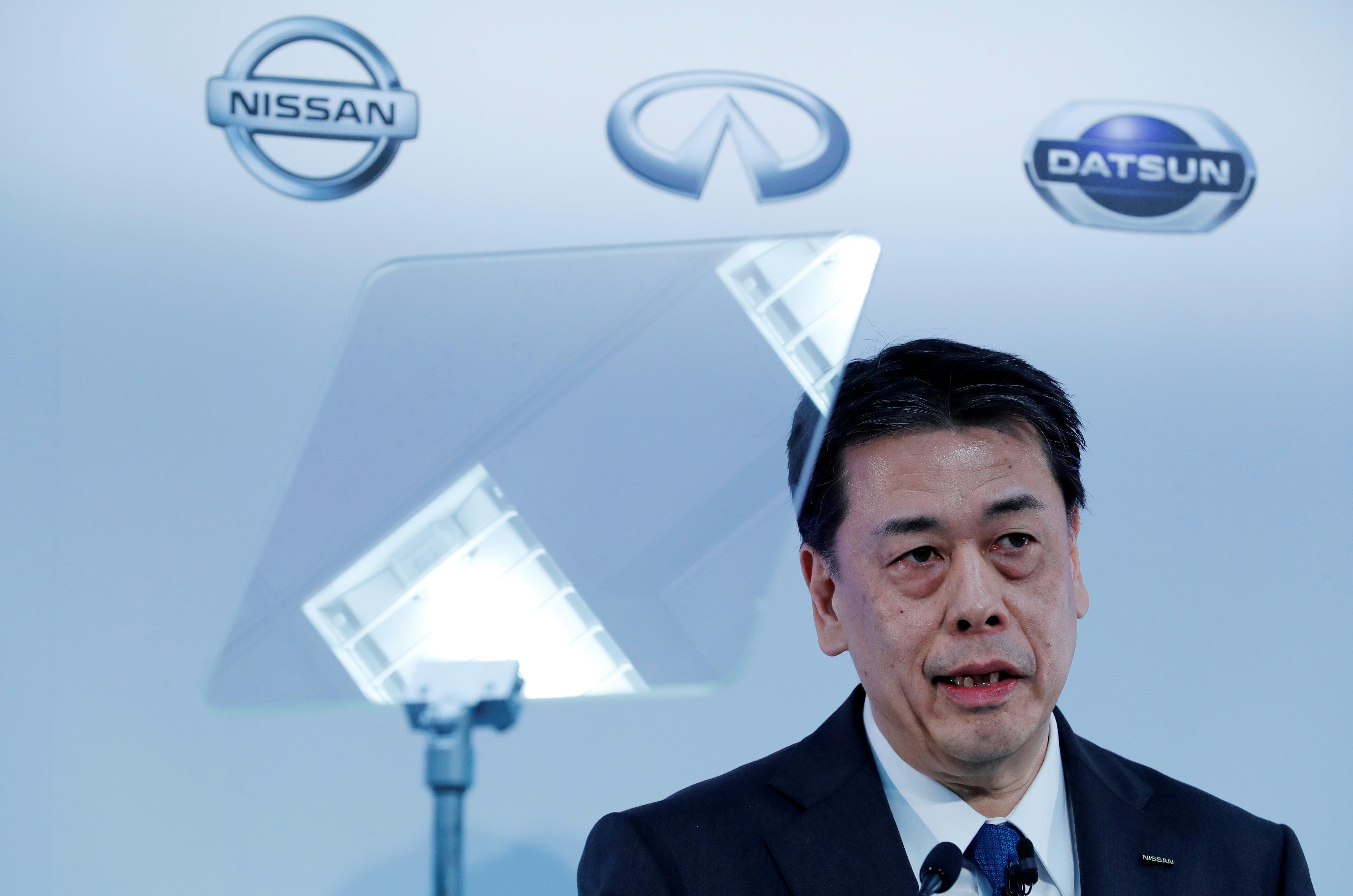 Nissan Motor Co CEO Makoto Uchida speaks during a news conference at the company's headquarters in Yokohama, Japan February 13, 2020. REUTERS/Kim Kyung-Hoon
