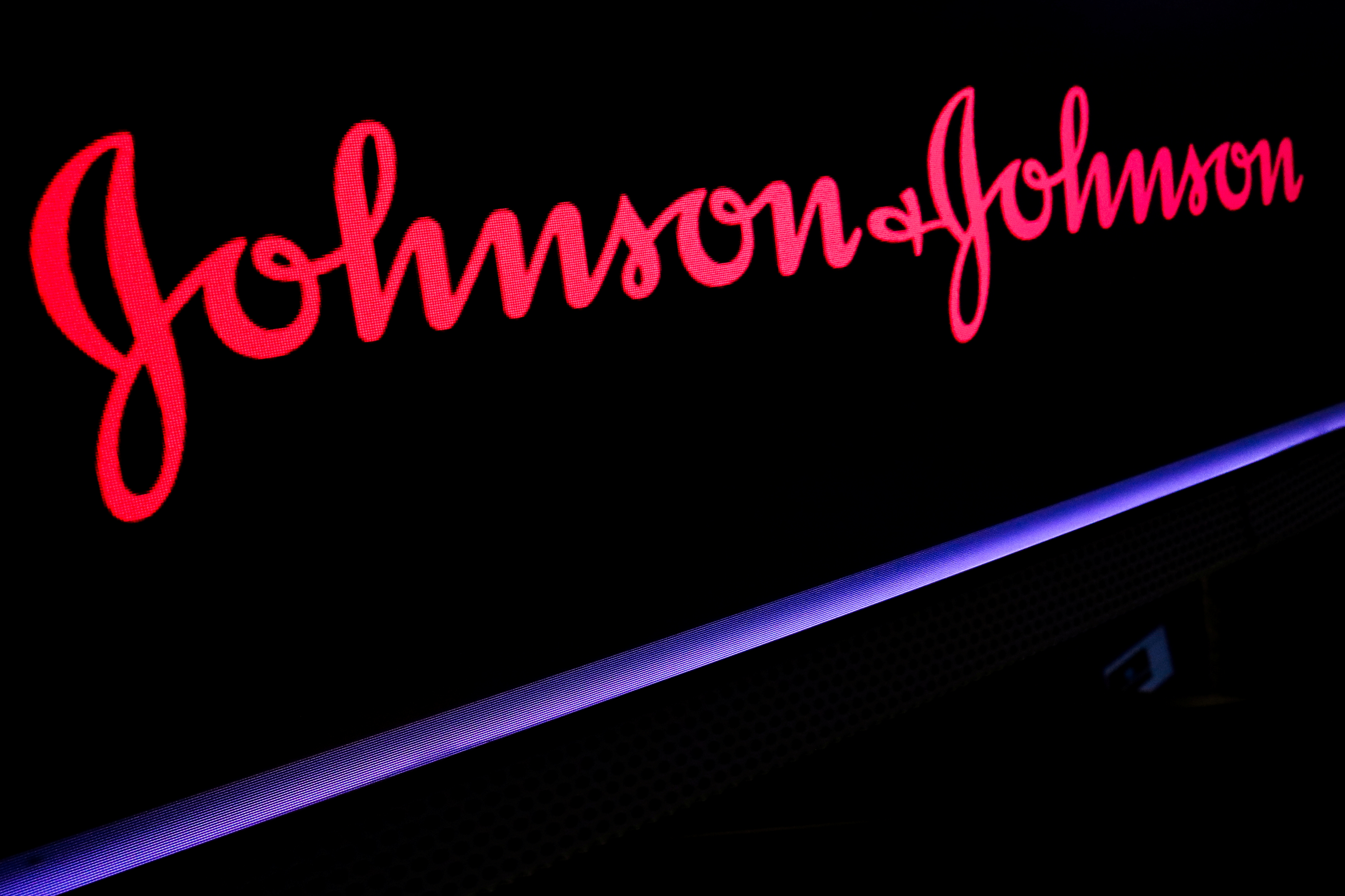 The Johnson & Johnson logo is displayed on a screen on the floor of the New York Stock Exchange (NYSE) in New York, U.S., May 29, 2019. REUTERS/Brendan McDermid