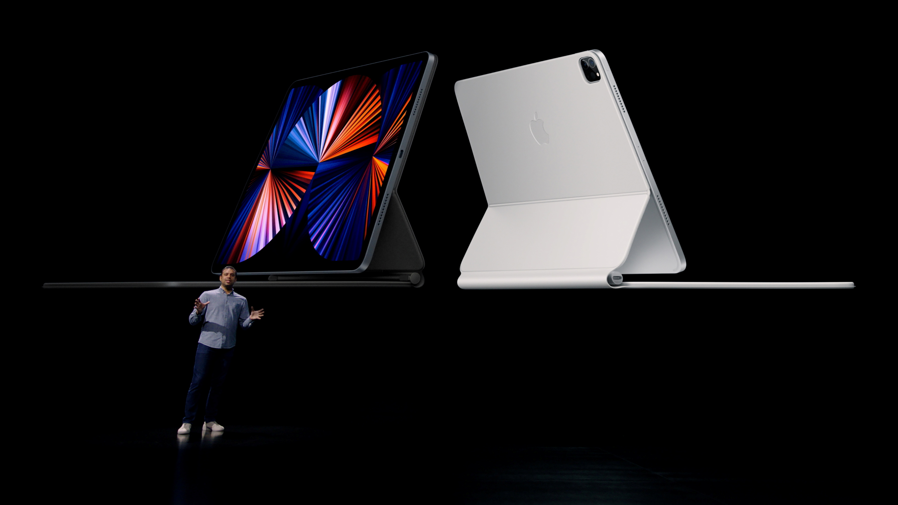 Apple?s Raja Bose announces the new iPad Pro, in this still image from the keynote video of a special event at Apple Park in Cupertino, California, U.S. released April 20, 2021. Apple Inc./Handout via REUTERS.