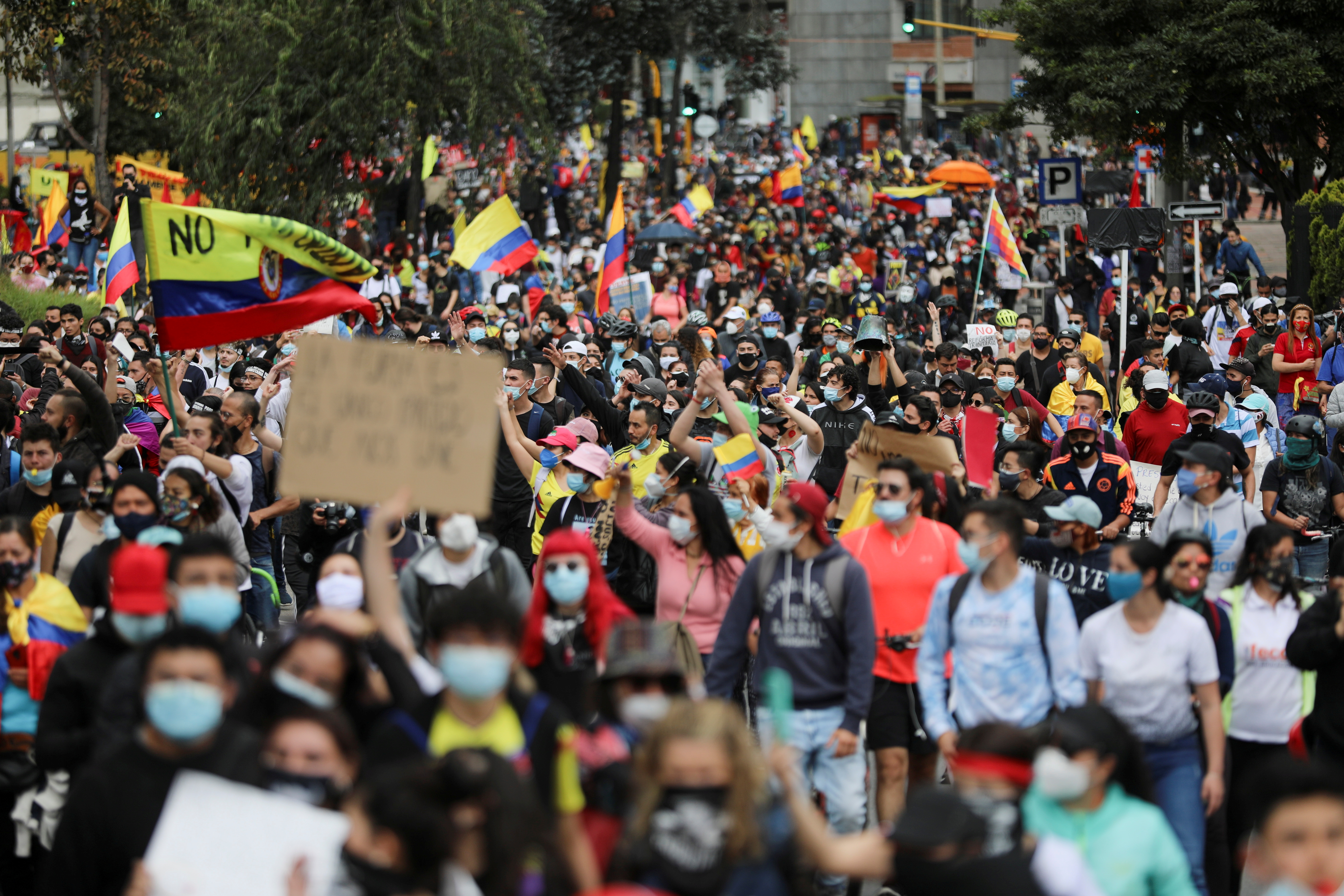 Demonstrators take part in a protest against the tax reform of President Ivan Duque's government in Bogota, Colombia, May 1, 2021. REUTERS/Luisa Gonzalez