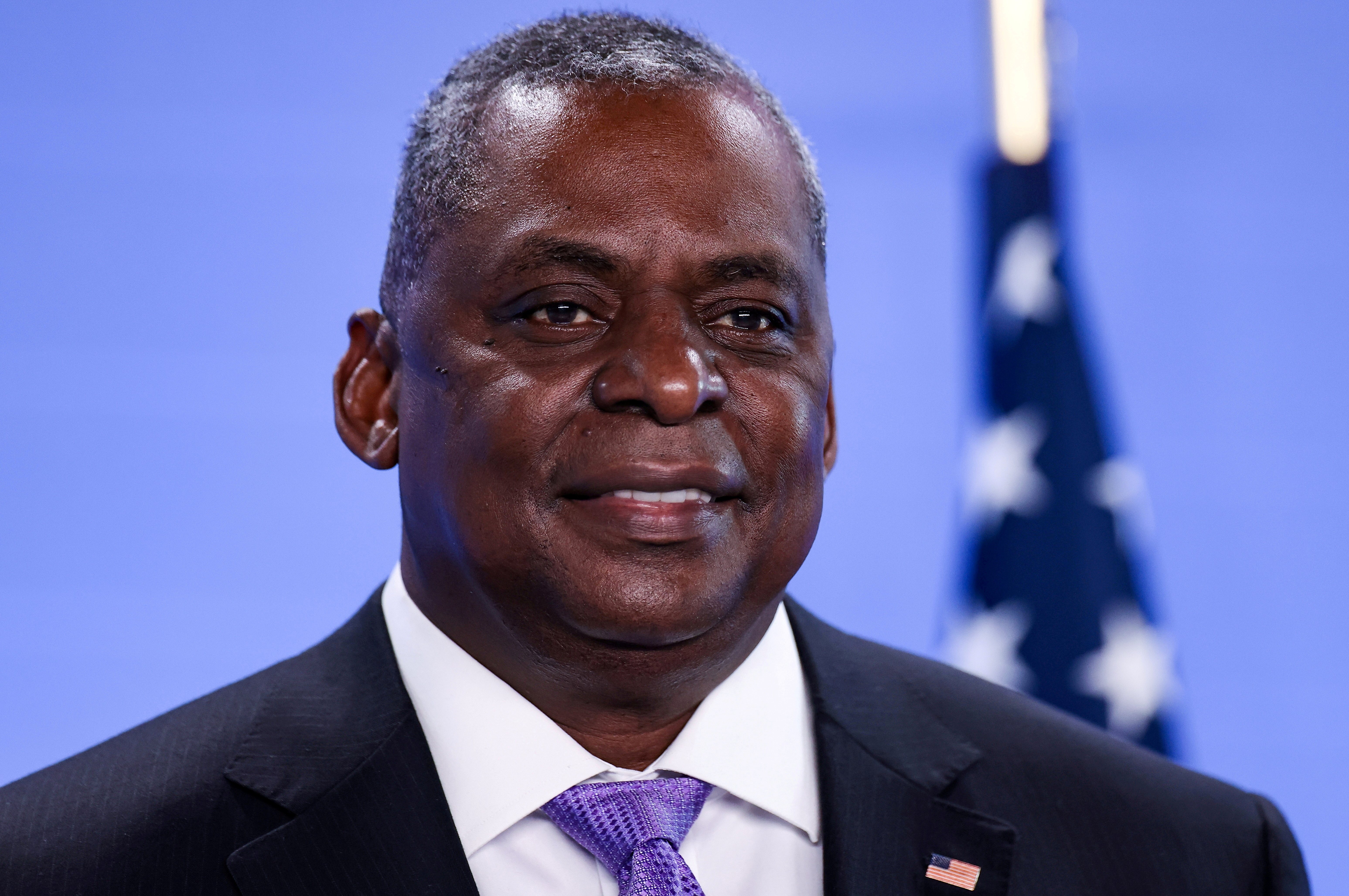 U.S. Defense Secretary Lloyd Austin poses as he arrives for a meeting of foreign ministers of the U.S., Britain, France and Germany on Afghanistan at NATO's headquarters in Brussels, Belgium, April 14, 2021. Kenzo Tribouillard/Pool via Reuters/File Photo