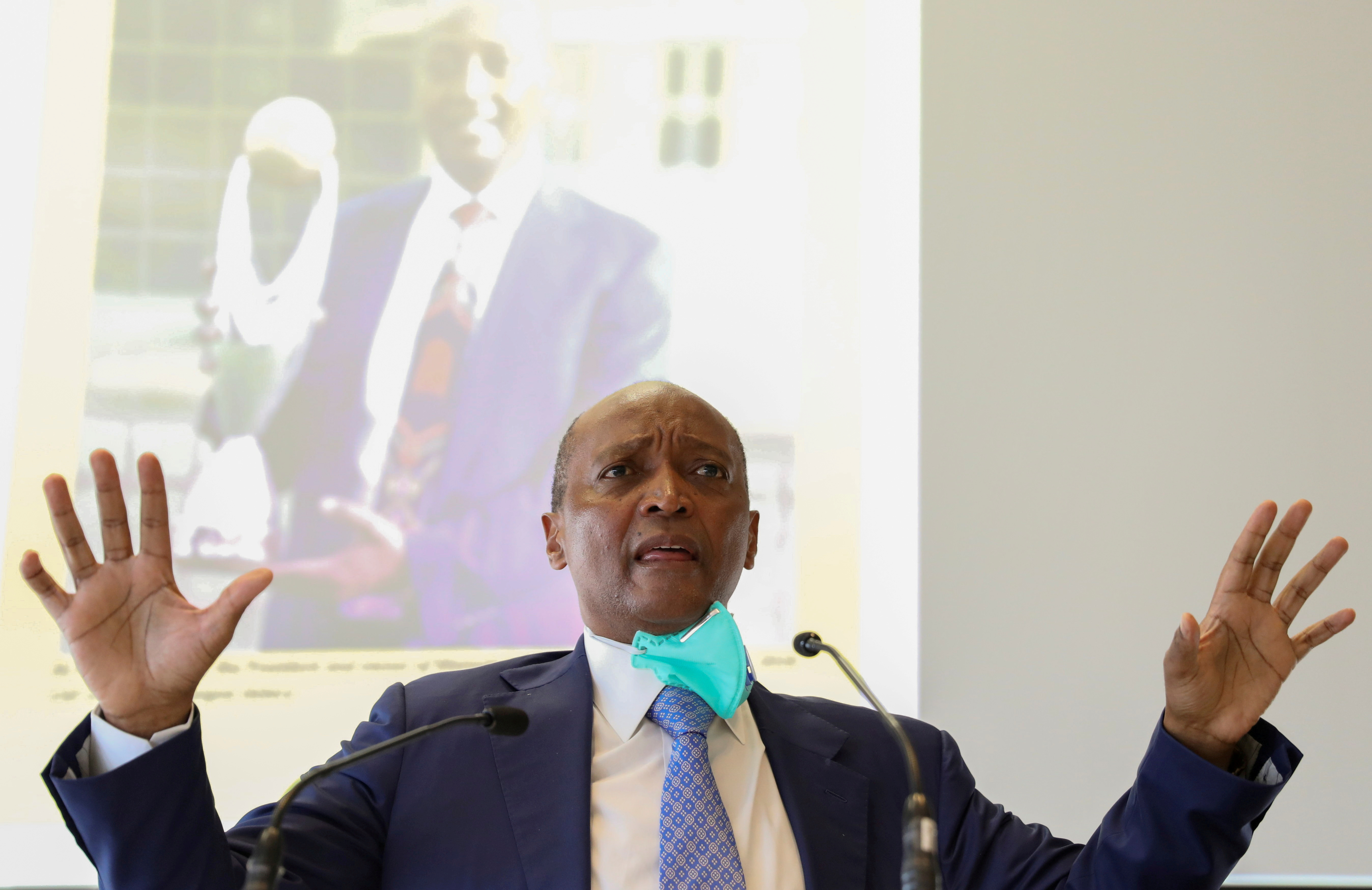 South African billionaire Patrice Motsepe gestures during a media briefing as he delivers his CAF Presidency strategy ahead of the upcoming CAF Presidential elections, in Sandton, South Africa, February 25, 2021. REUTERS/ Siphiwe Sibeko