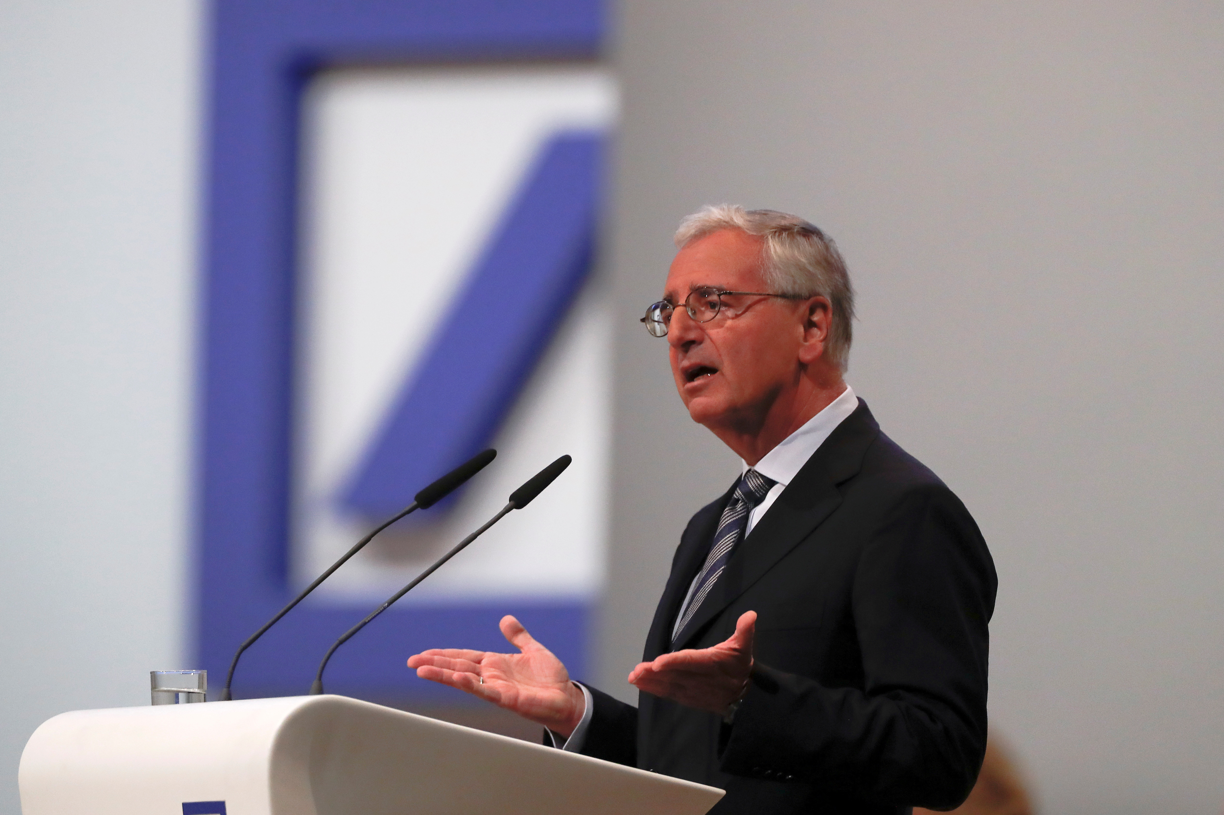 Chairman of the board Paul Achleitner delivers his speech during the annual shareholder meeting of Germany's largest business bank, Deutsche Bank, in Frankfurt, Germany, May 23, 2019. REUTERS/Kai Pfaffenbach/File Photo