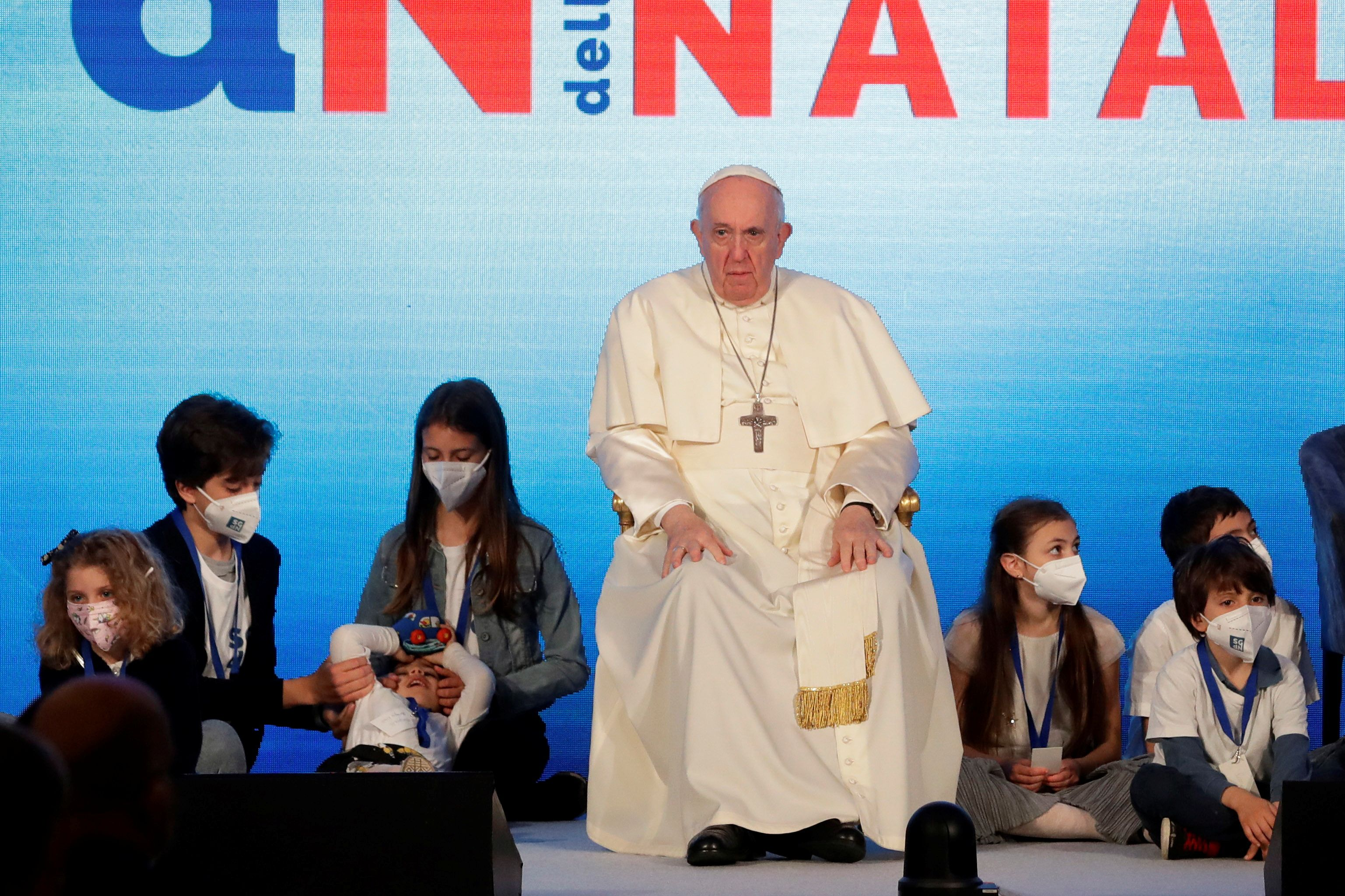 Pope Francis attends a conference on the Demographic Crisis in Rome, Italy May 14, 2021. Andrew Medichini/Pool via REUTERS