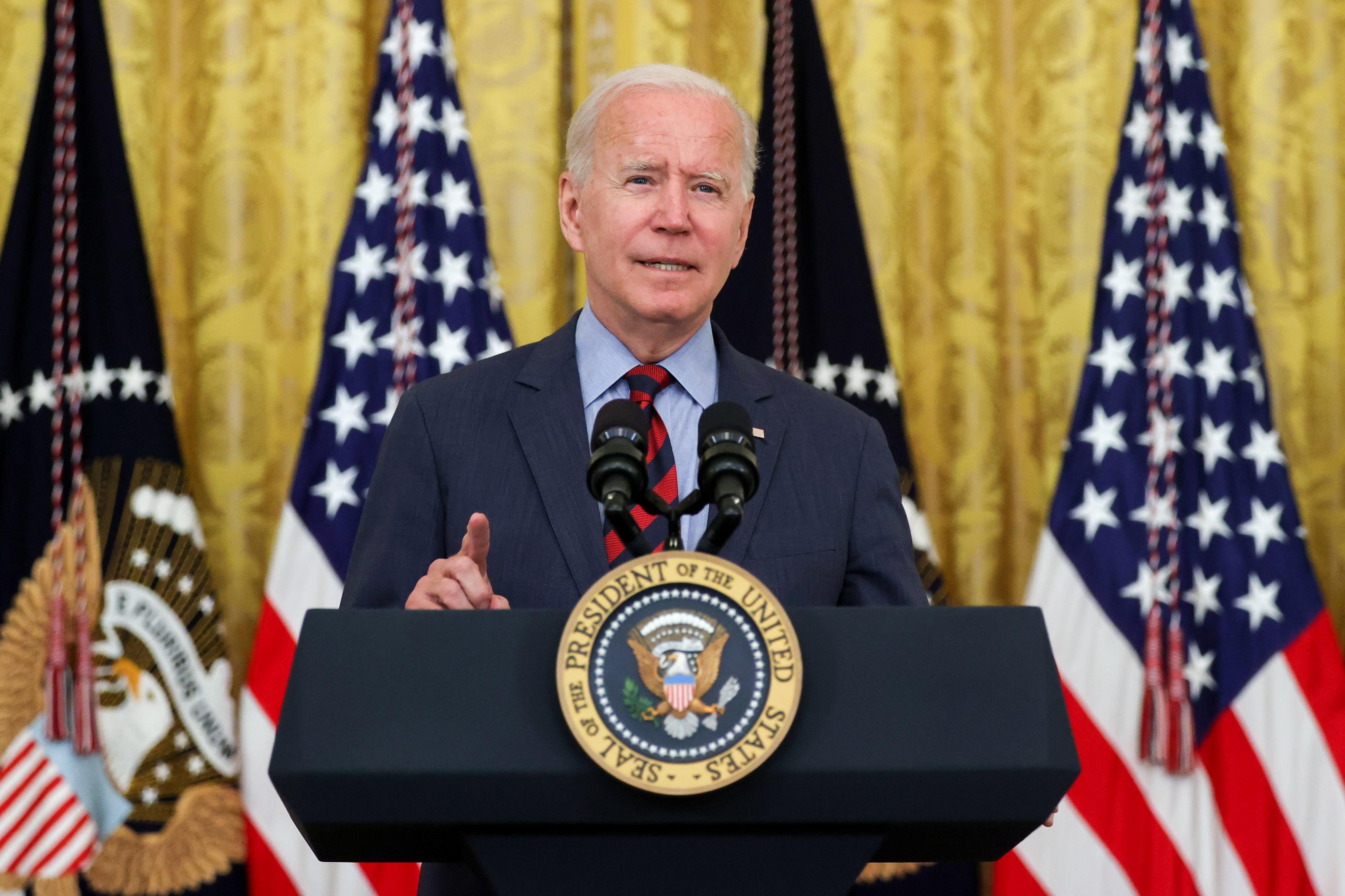 U.S. President Joe Biden delivers remarks at the White House in Washington, U.S. August 3, 2021.  REUTERS/Jonathan Ernst