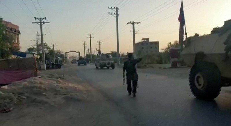 Tanks arrive at battlefield, in Kunduz, Afghanistan July 7, 2021 in this still image taken from a video. REUTERS TV via REUTERS