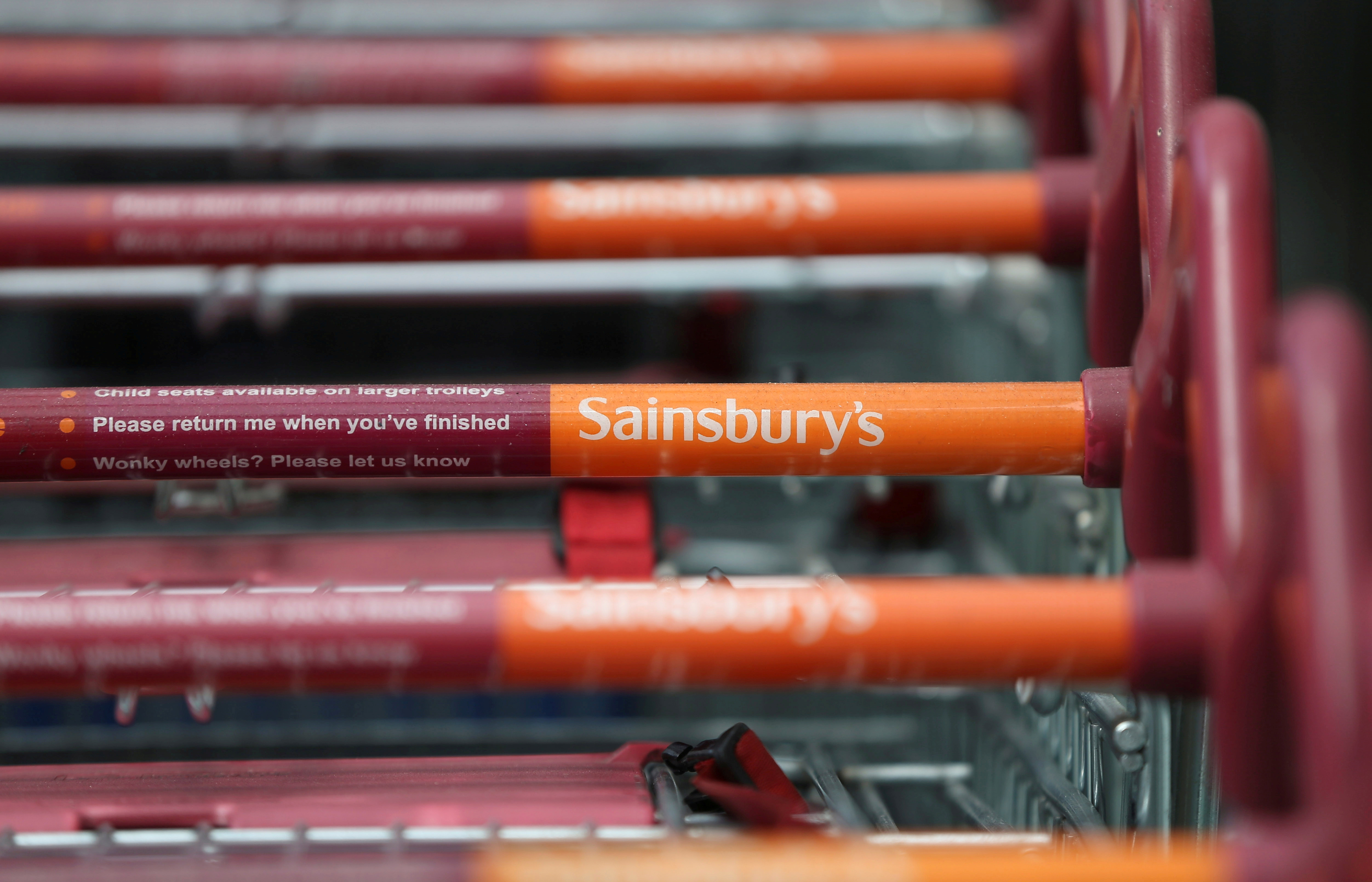 Shopping trolleys are seen at a Sainsbury's store in London, Britain,  April 30, 2016. REUTERS/Neil Hall/File Photo