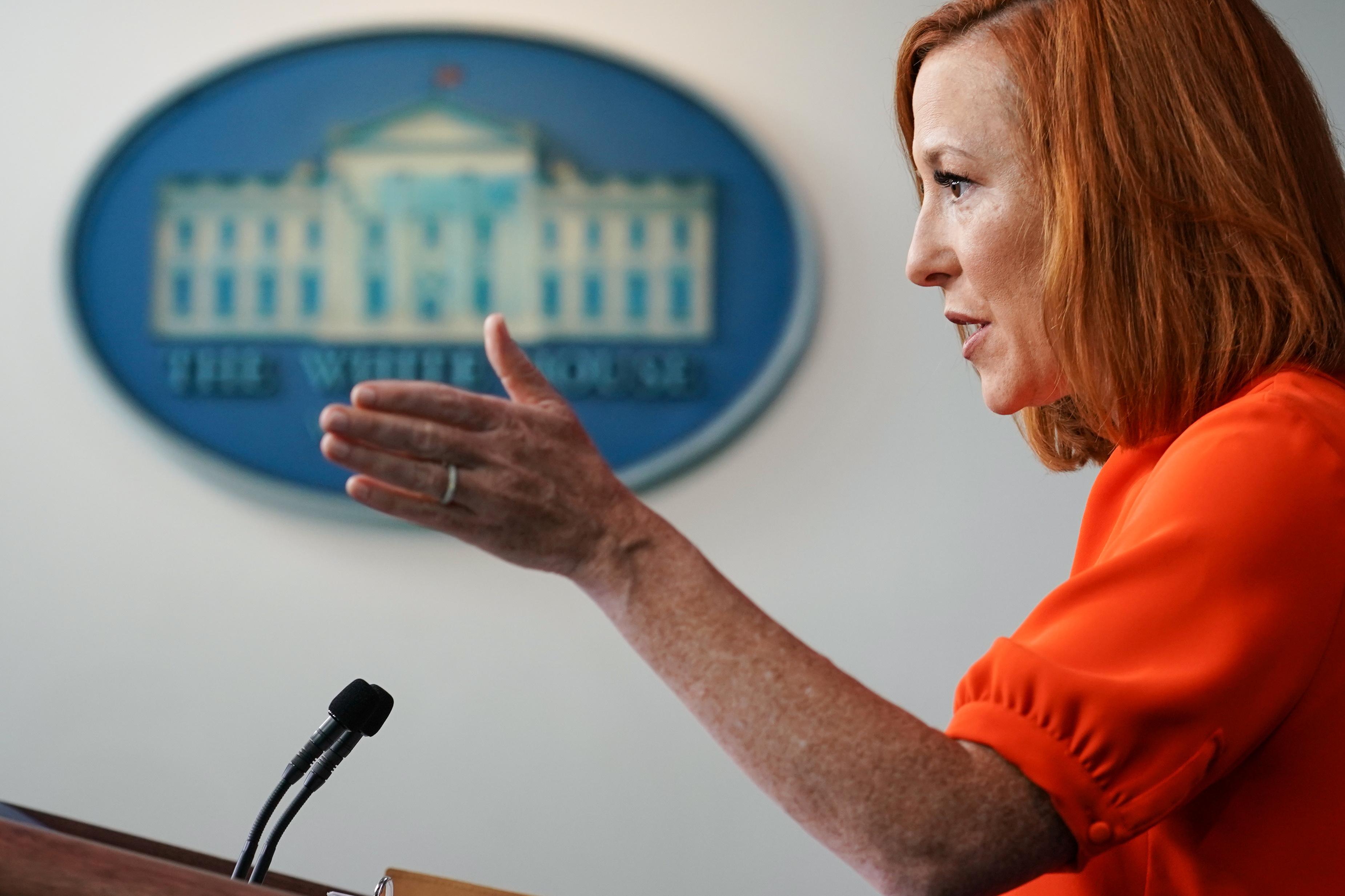 White House Press Secretary Jen Psaki holds a press briefing at the White House in Washington, U.S., June 21, 2021. REUTERS/Sarah Silbiger