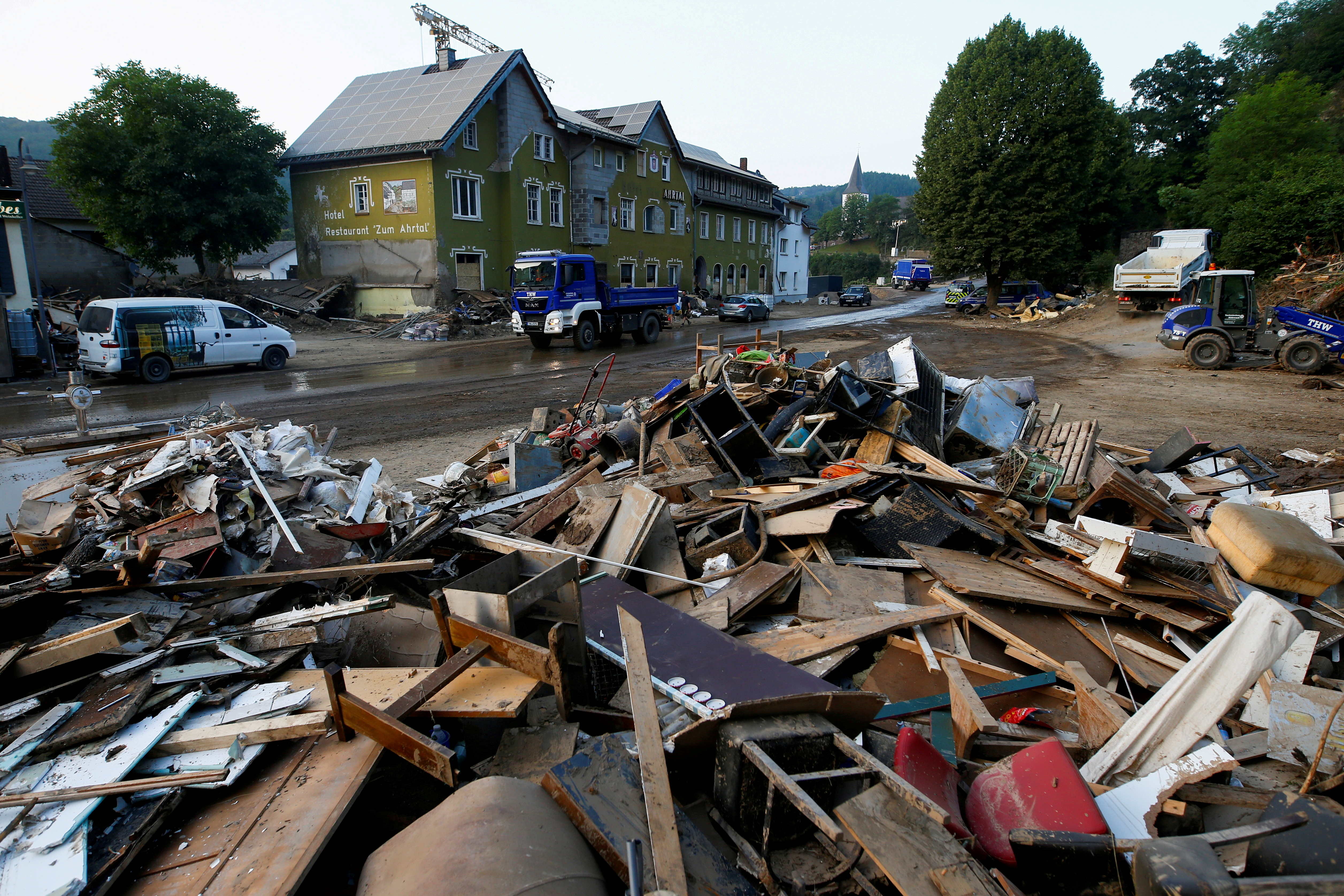 Debris in an area affected by floods caused by heavy rainfall in Schuld, Germany, July 20, 2021. REUTERS/Thilo Schmuelgen/File Photo
