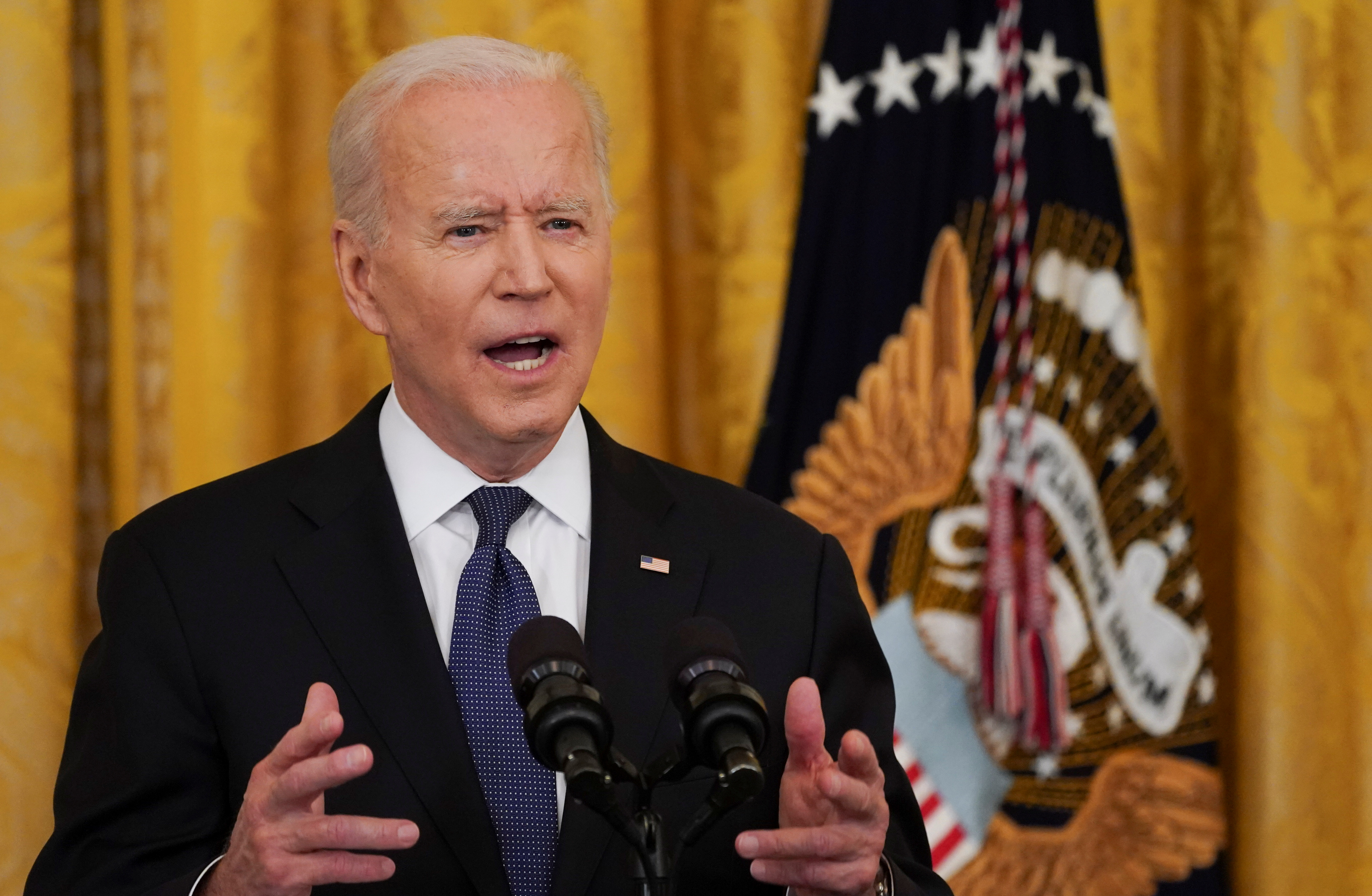 U.S. President Joe Biden speaks before signing the COVID-19 Hate Crimes Act into law, in the East Room at the White House in Washington, U.S., May 20, 2021. REUTERS/Kevin Lamarque