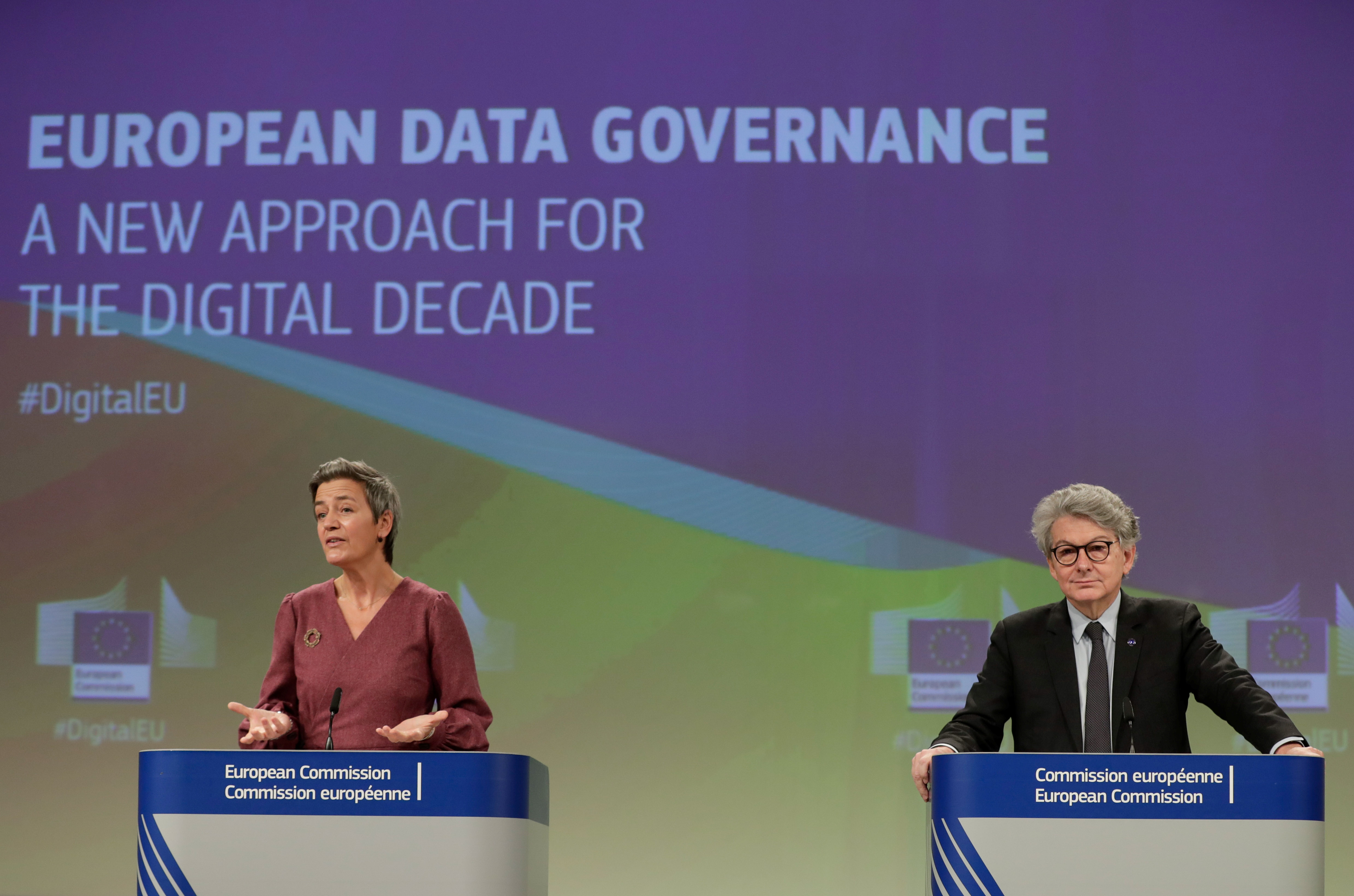 European Commissioner for Internal Market and Services Thierry Breton and European Executive Vice-President Margrethe Vestager give a news conference on the Data Governance Act at the European Commission in Brussels, Belgium November 25, 2020. Stephanie Lecocq/Pool via REUTERS/File Photo