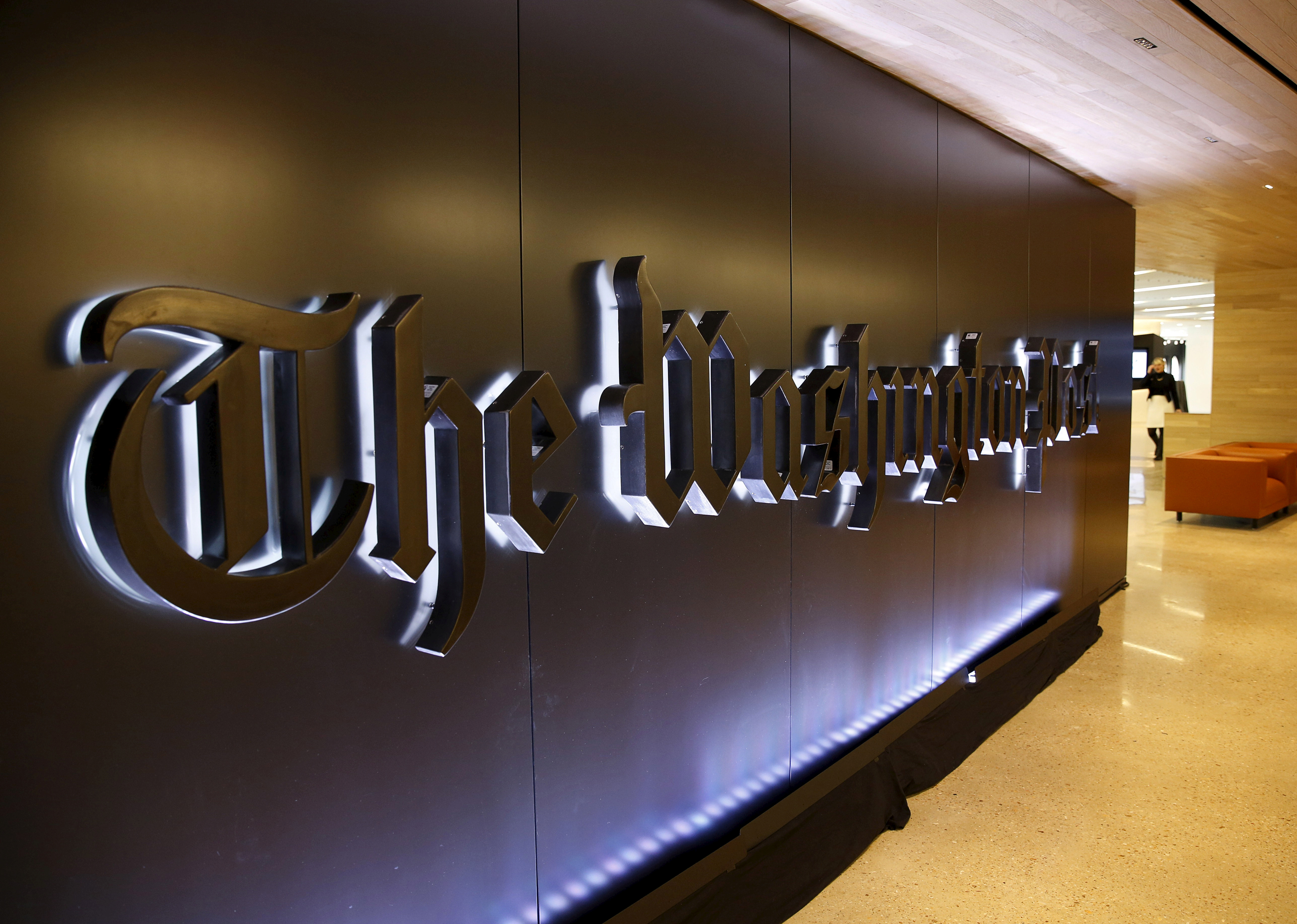 The newspaper's banner logo is seen during the grand opening of the Washington Post newsroom in Washington January 28, 2016.  REUTERS/Gary Cameron