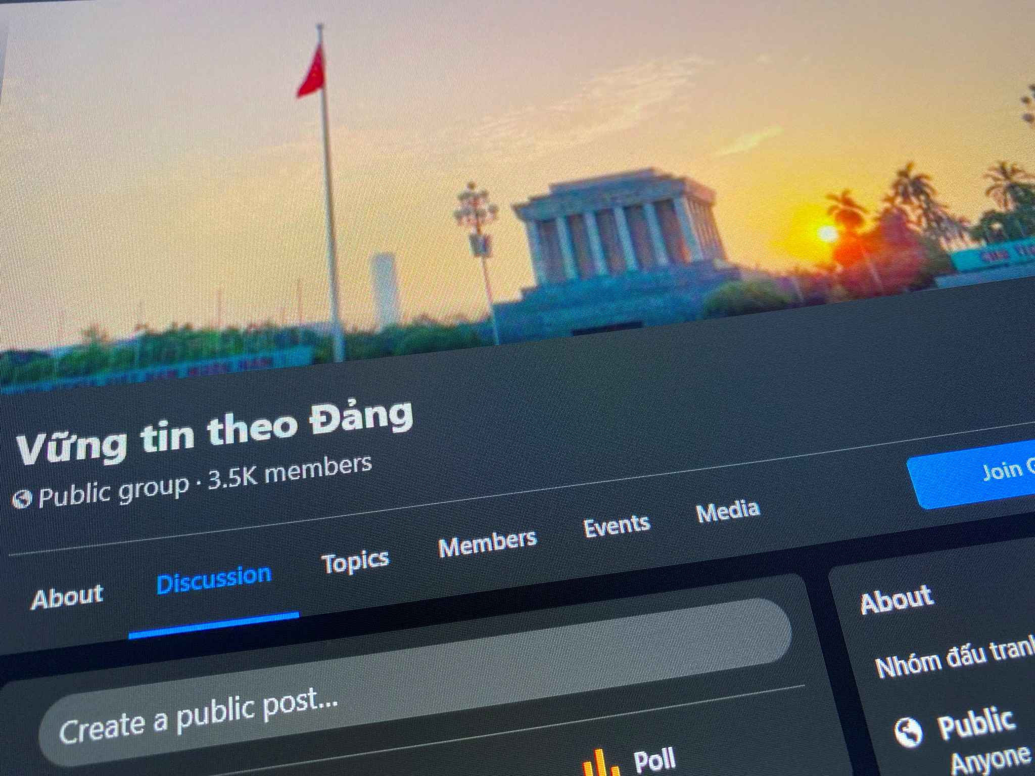 A Facebook page of a group called 'Believe in the Party' which was identified by Vietnamese state media as being controlled by 'Force 47' cyber troops, is displayed on screen in this photo taken July 6, 2021 by REUTERS