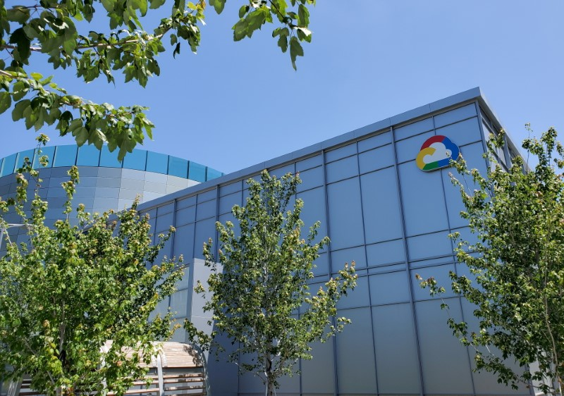 A Google Cloud logo outside of the Google Cloud computing unit's headquarters at the Moffett Place office complex in Sunnyvale, California, U.S., June 19, 2019.  REUTERS/Paresh Dave/File Photo