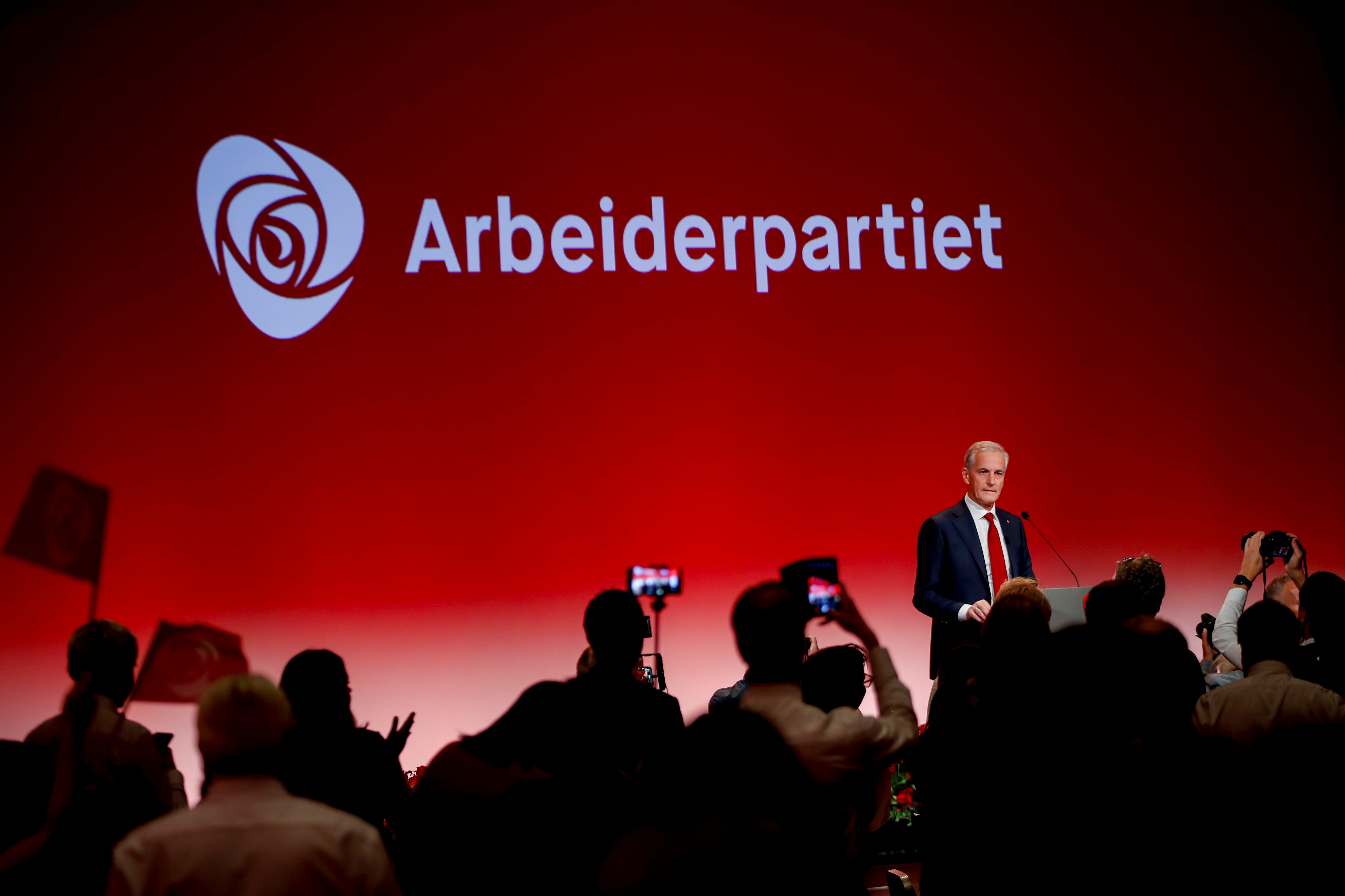 Norway's Labor Party leader Jonas Gahr Stoere speaks at the Labor Party's election vigil at Folkets Hus during parliamentary elections, in Oslo, Norway September 13, 2021. Javad Parsa/NTB via REUTERS
