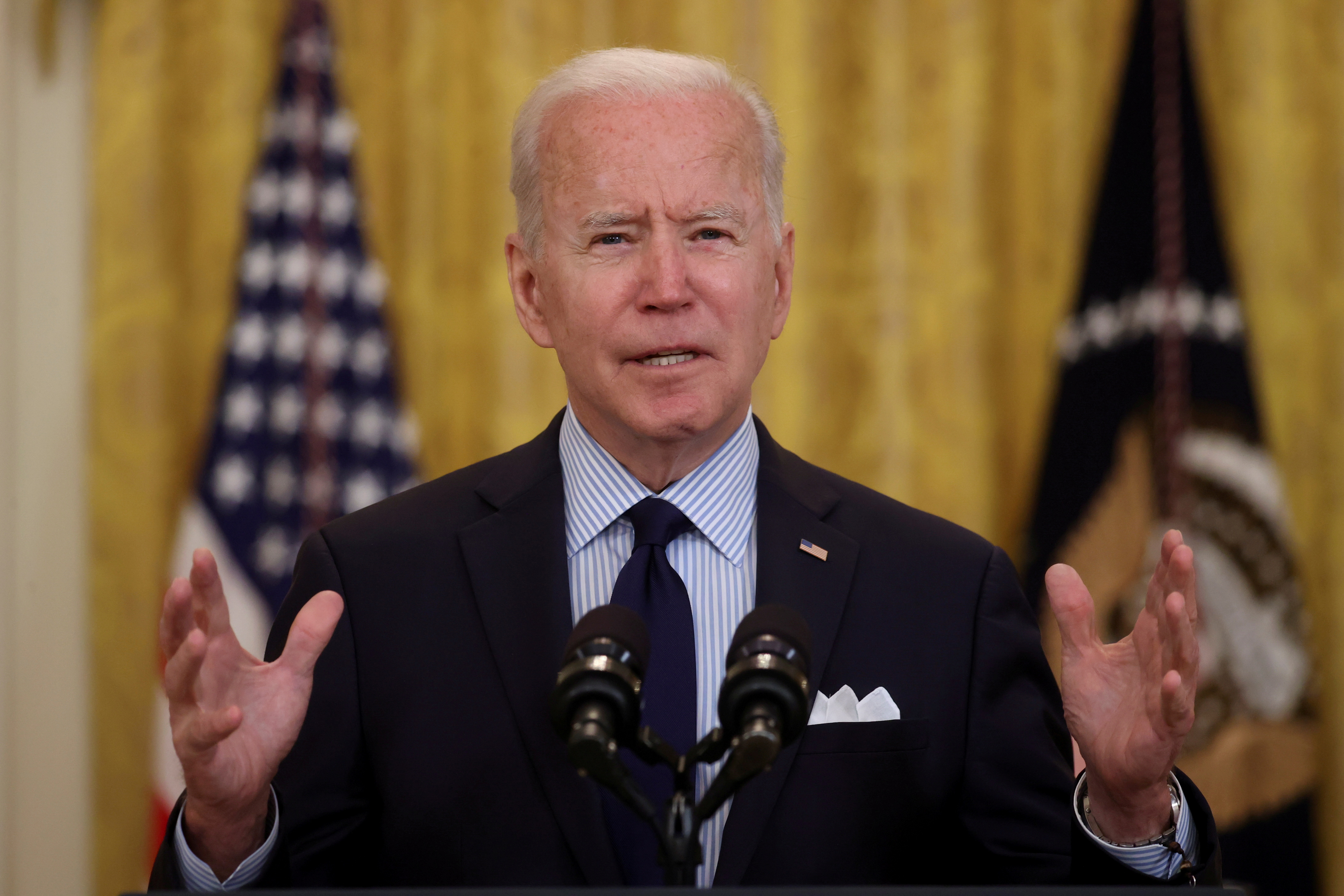 U.S. President Joe Biden delivers remarks on the April jobs report from the East Room of the White House in Washington, U.S., May 7, 2021.  REUTERS/Jonathan Ernst