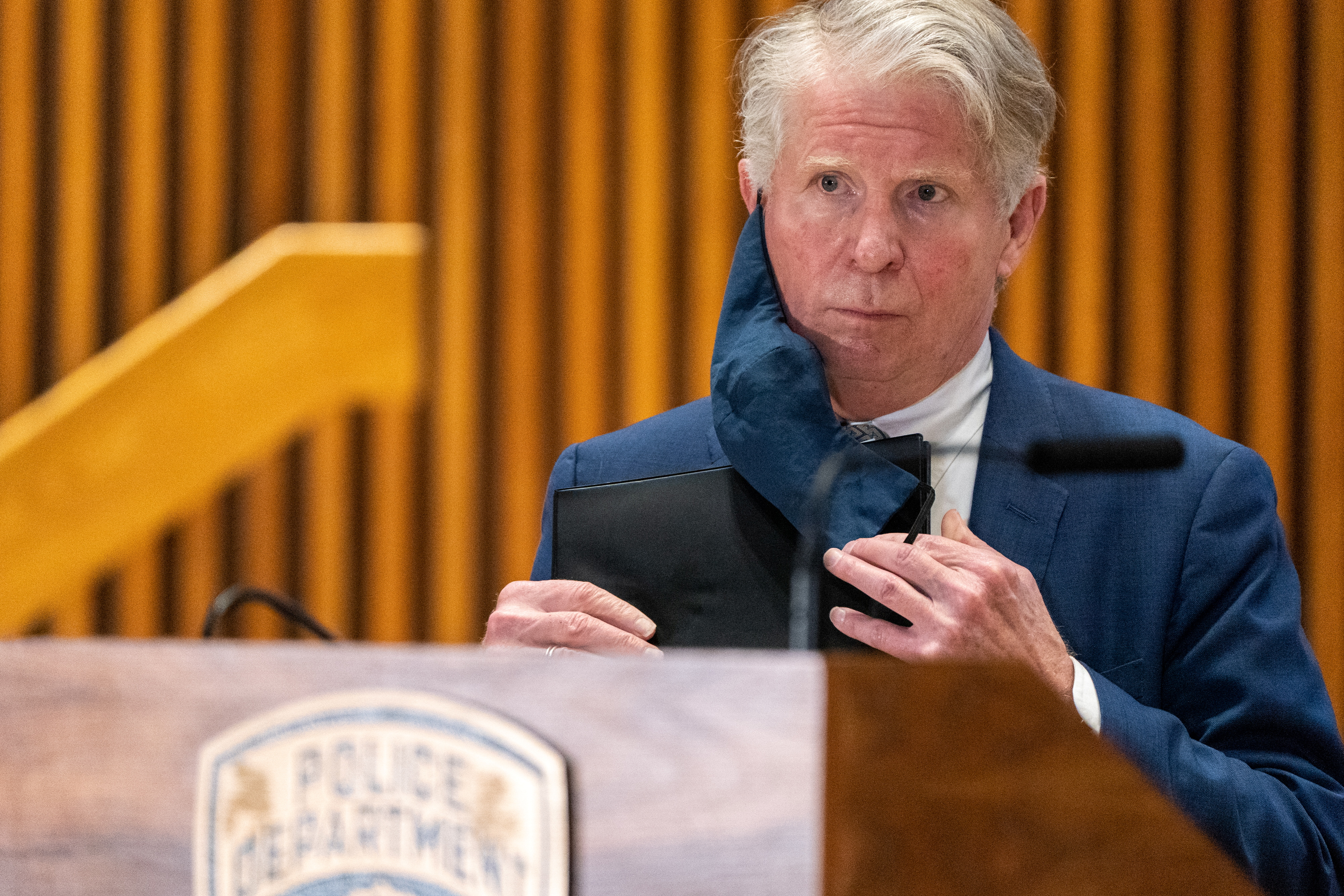 Manhattan district Attorney Cyrus Vance Jr. attends at a news conference announcing charges against Brandon Elliot, following his arrest for attacking an elderly Asian woman, in the Manhattan borough of New York City, U.S., March 31, 2021. REUTERS/Jeenah Moon