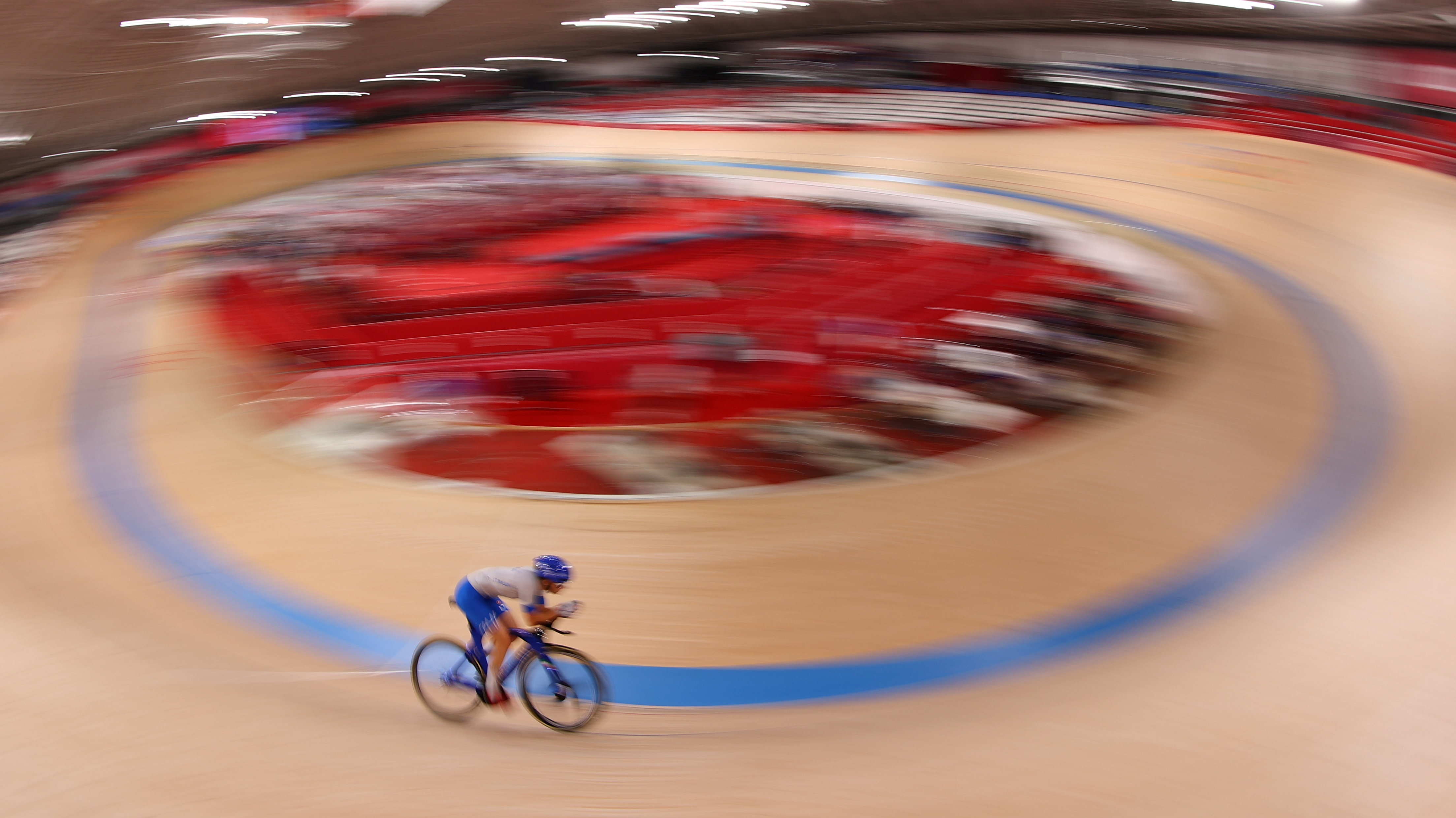 Tokyo 2020 Olympics - Cycling - Track - Women's Team Sprint - Qualification - Izu Velodrome, Shizuoka, Japan - August 2, 2021. A cyclist warms up before the event. REUTERS/Kacper Pempel