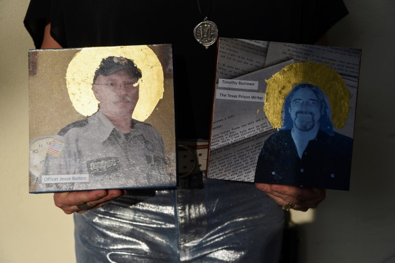 Artist Joni Zavitsanos holds two images of people who died of the coronavirus disease (COVID-19), which will be part of a mural displaying images of people who have died of COVID-19 in the city, as the country reaches 600,000 deaths in Houston, Texas, U.S., June 10, 2021.  REUTERS/Callaghan O'Hare