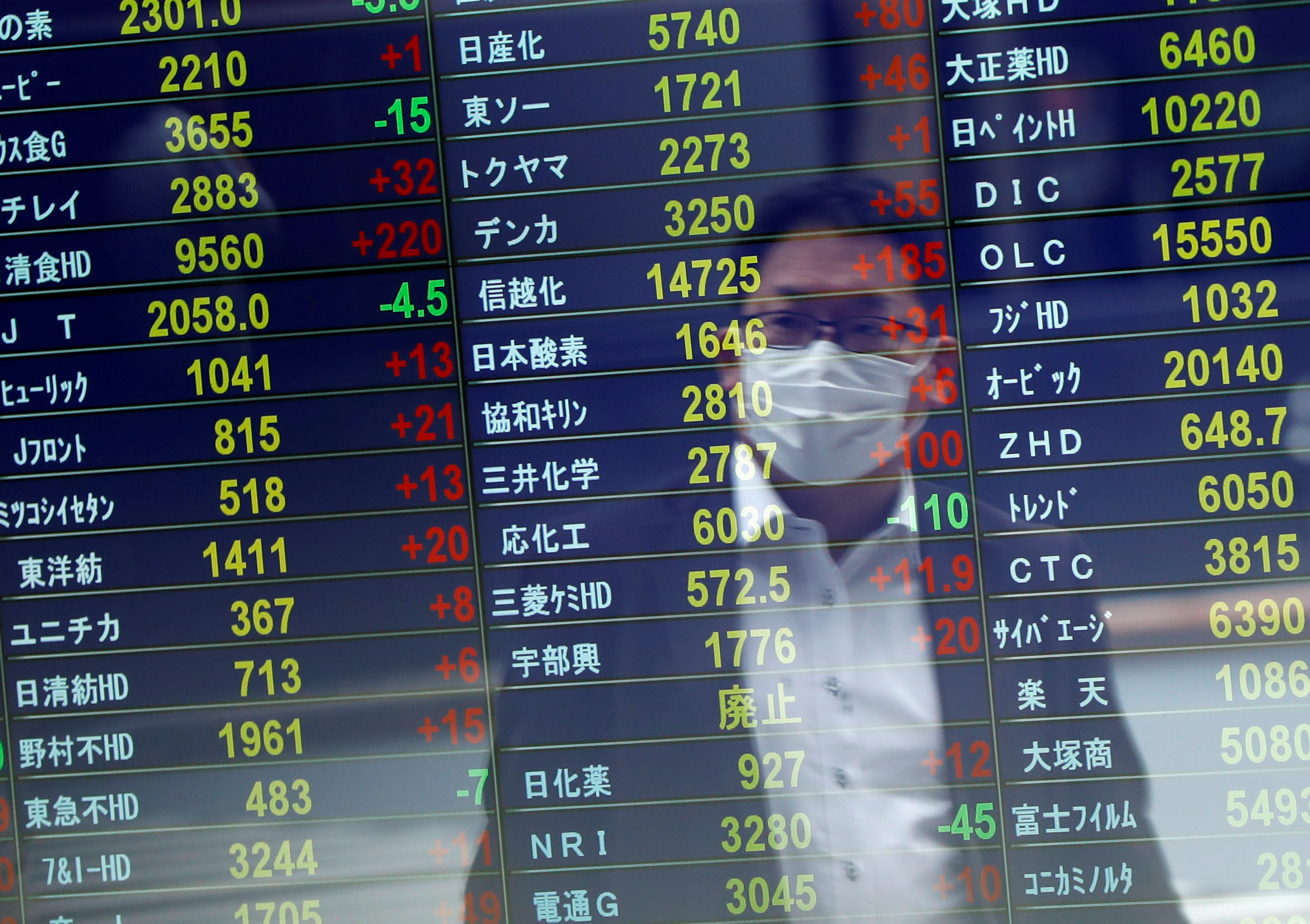 A man wearing a protective face mask is reflected on a stock quotation board at a brokerage, in Tokyo, Japan November 6, 2020. REUTERS/Issei Kato