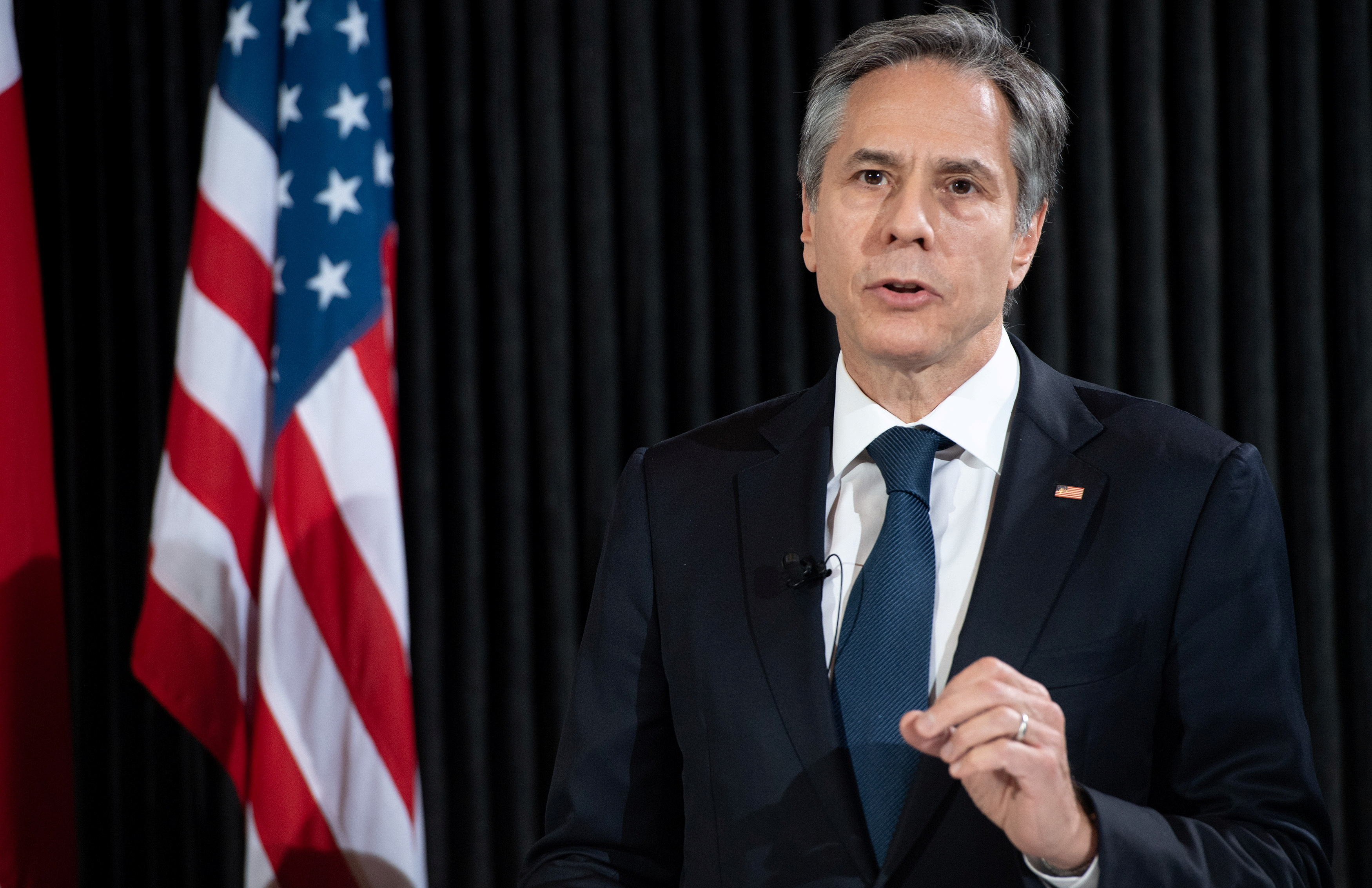 U.S. Secretary of State Antony Blinken speaks at a news conference following meetings at the Danish Foreign Ministry, Eigtved's Warehouse, in Copenhagen, Denmark, May 17, 2021. Saul Loeb/Pool via REUTERS
