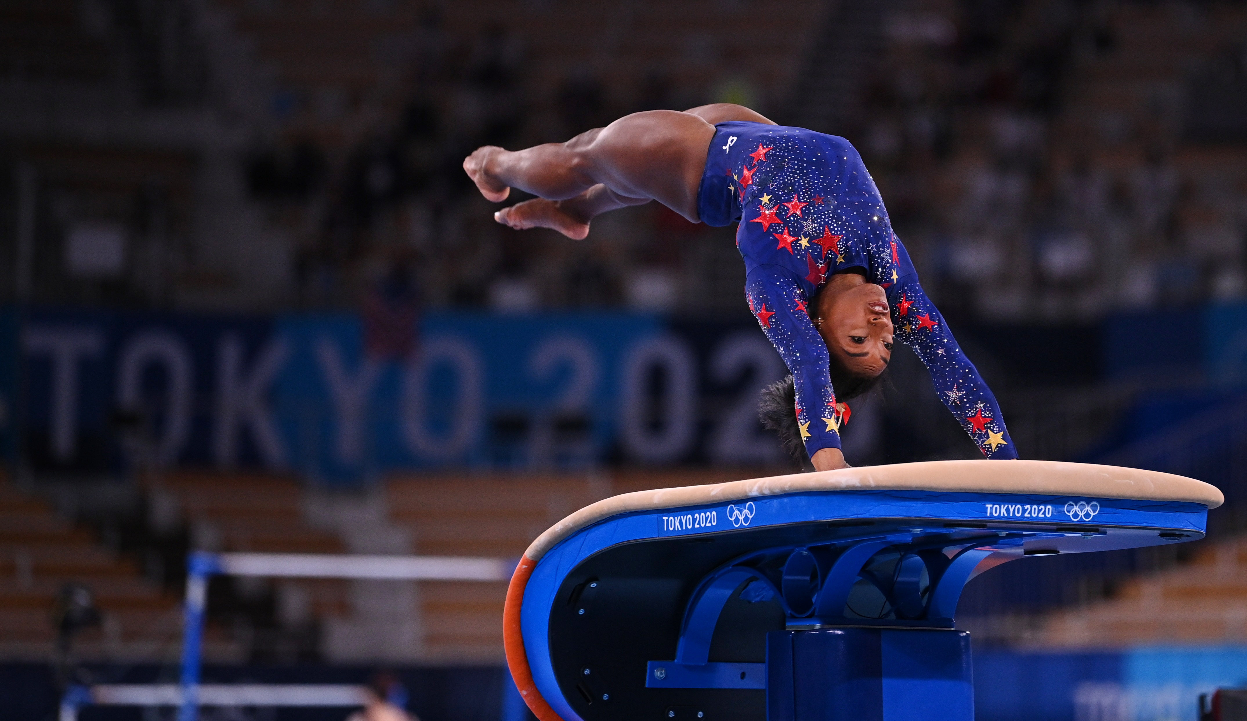 Tokyo 2020 Olympics - Gymnastics - Artistic - Women's Vault - Qualification - Ariake Gymnastics Centre, Tokyo, Japan - July 25, 2021. Simone Biles of the United States in action on the vault. REUTERS/Dylan Martinez