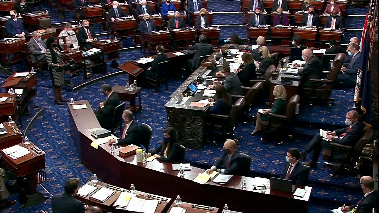 View of the U.S. Senate chamber on Capitol Hill in Washington, U.S., February 9, 2021. U.S. Senate TV/Handout via Reuters